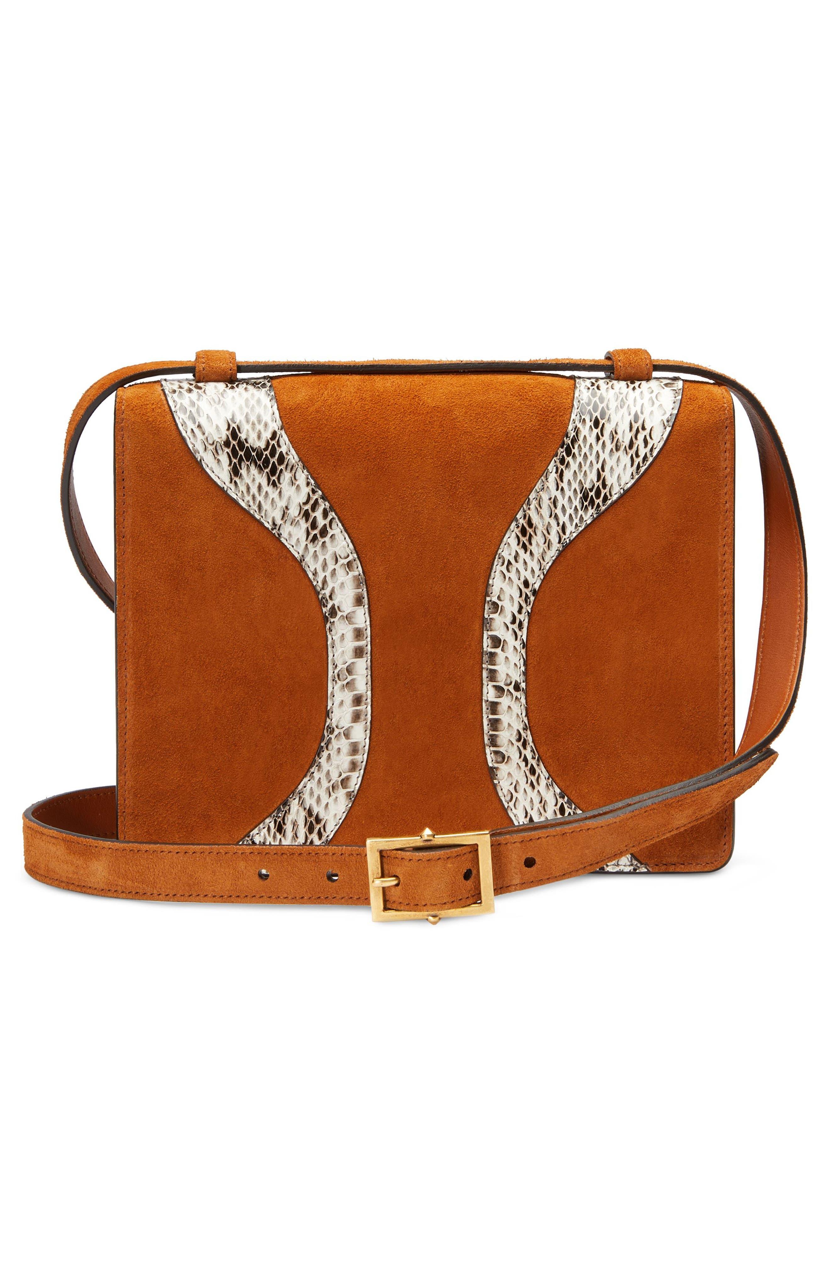Osiride Suede & Genuine Snakeskin Shoulder Bag,                             Alternate thumbnail 2, color,                             Bright Cuir/ Roccia
