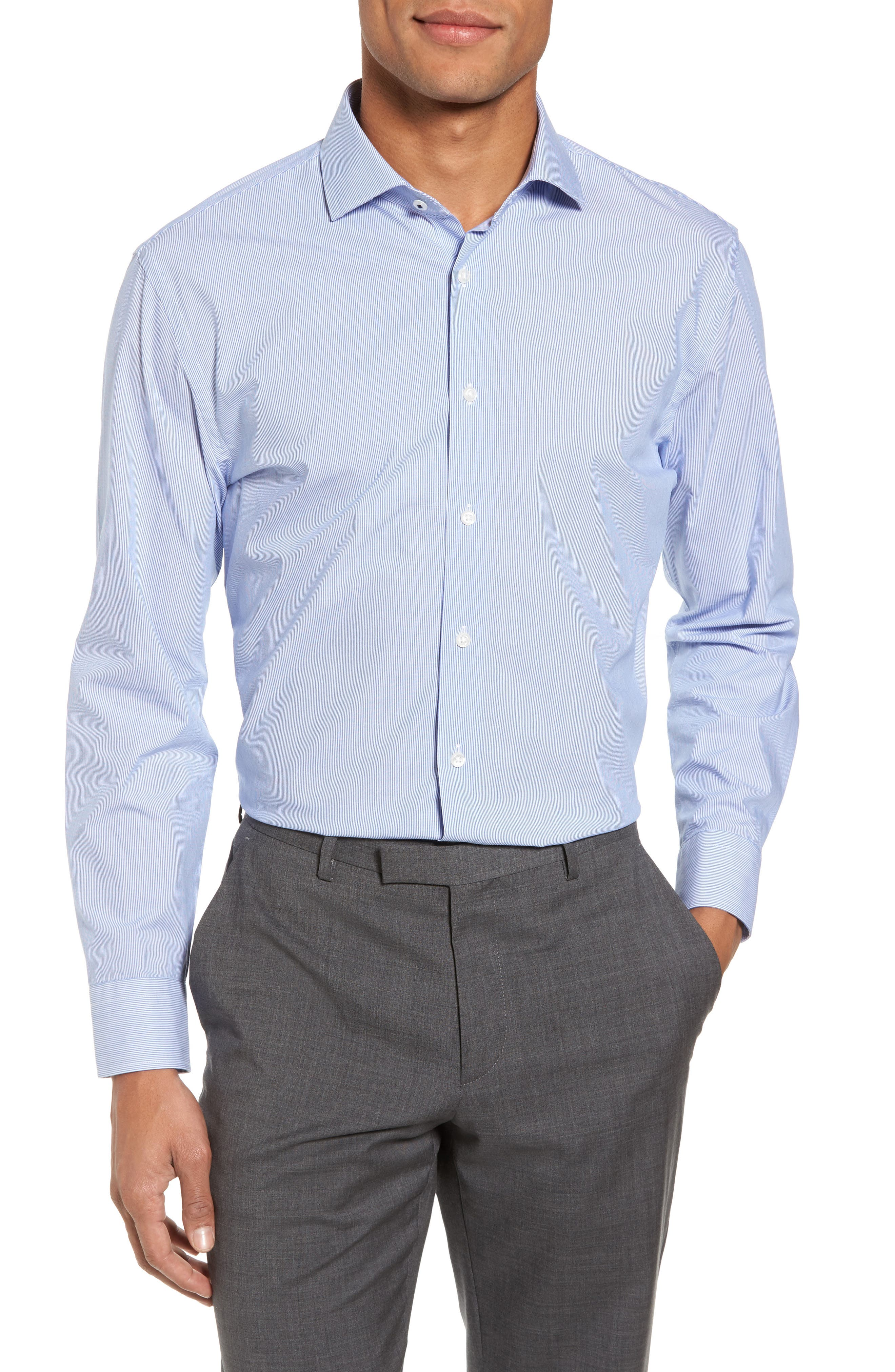 Tech-Smart Trim Fit Stretch Stripe Dress Shirt,                         Main,                         color, Blue Yonder
