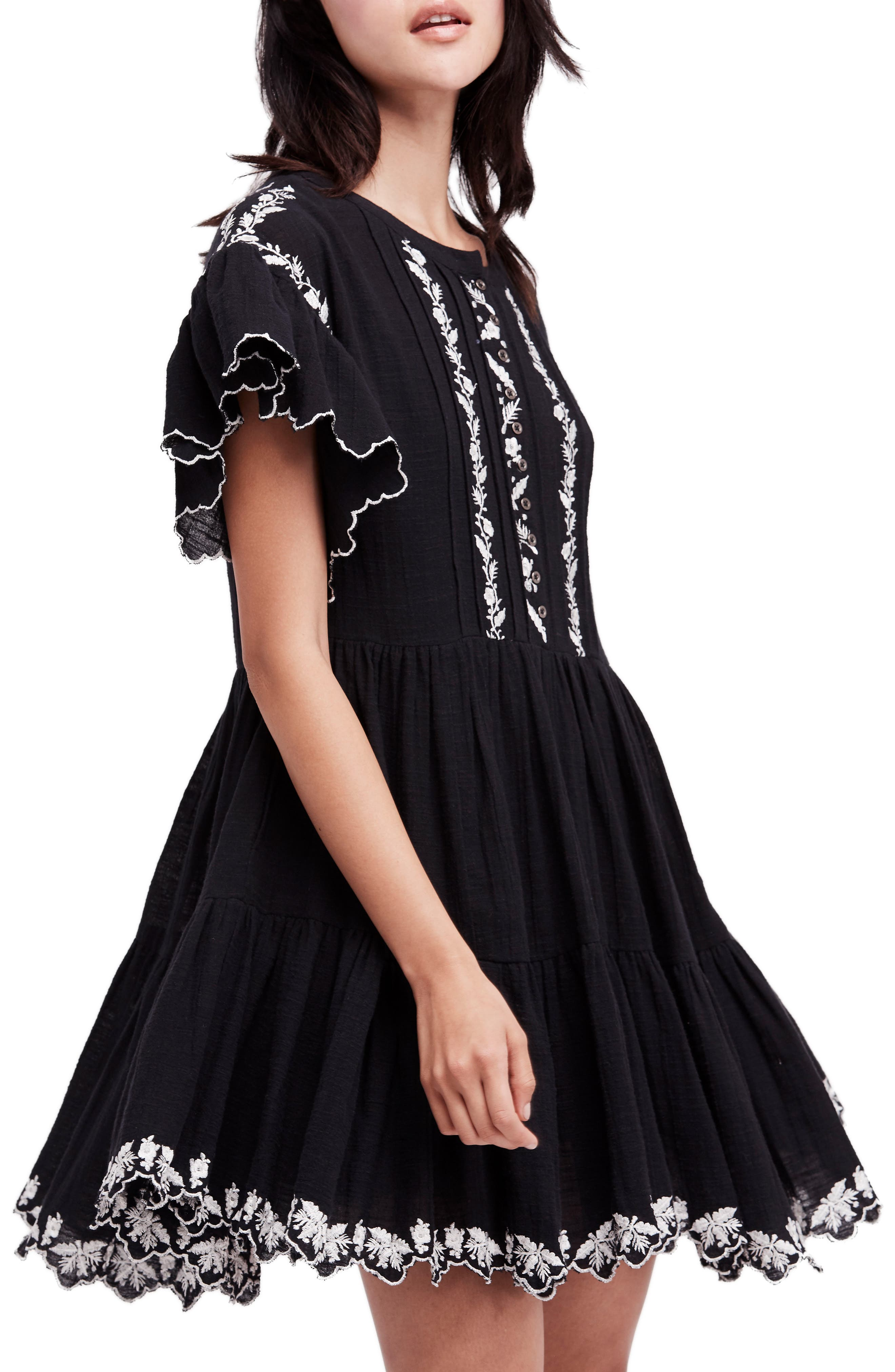 Santiago Embroidered Minidress,                         Main,                         color, Black