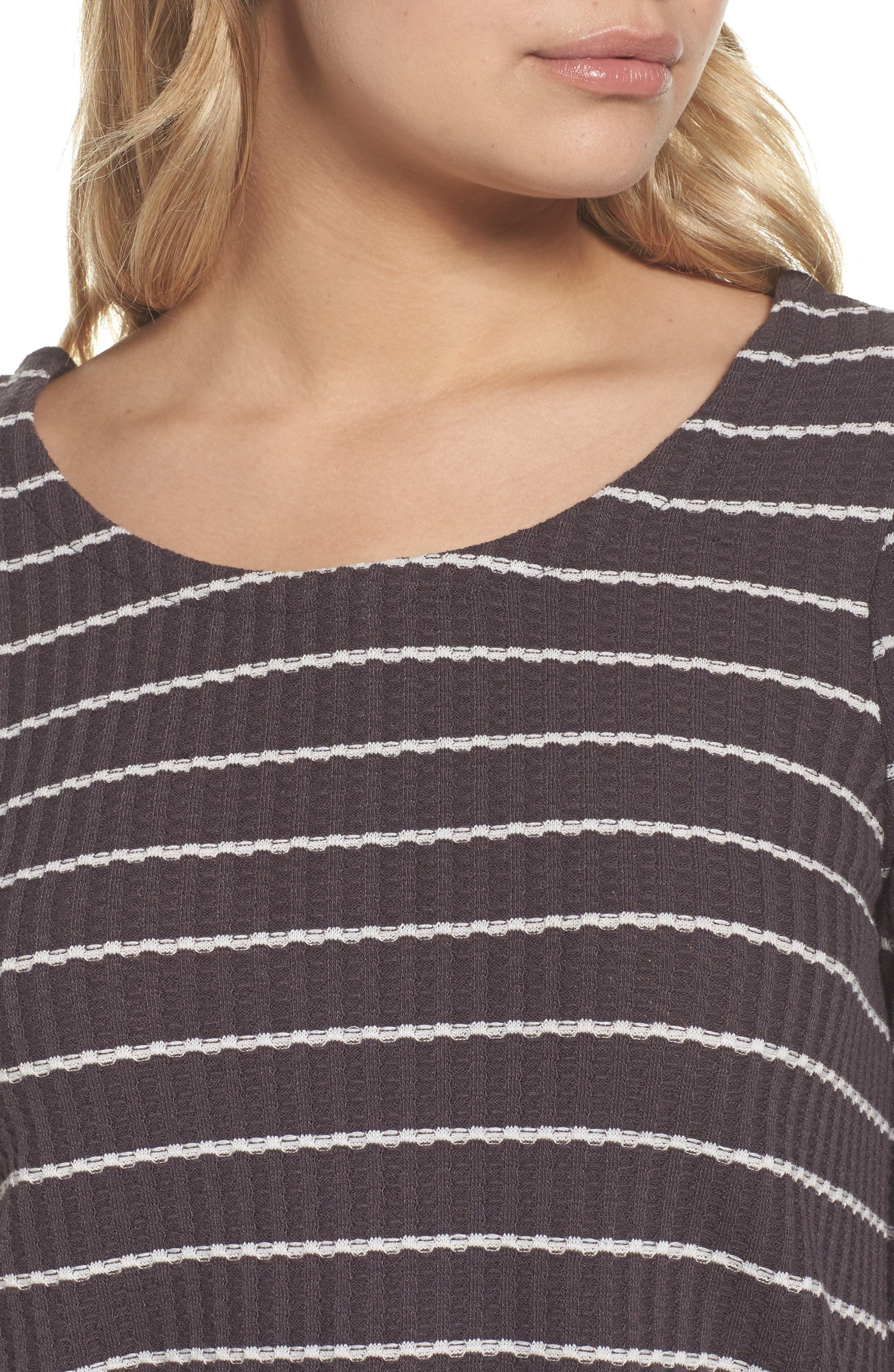 Thermal Knit Tee,                             Alternate thumbnail 5, color,                             Stripe