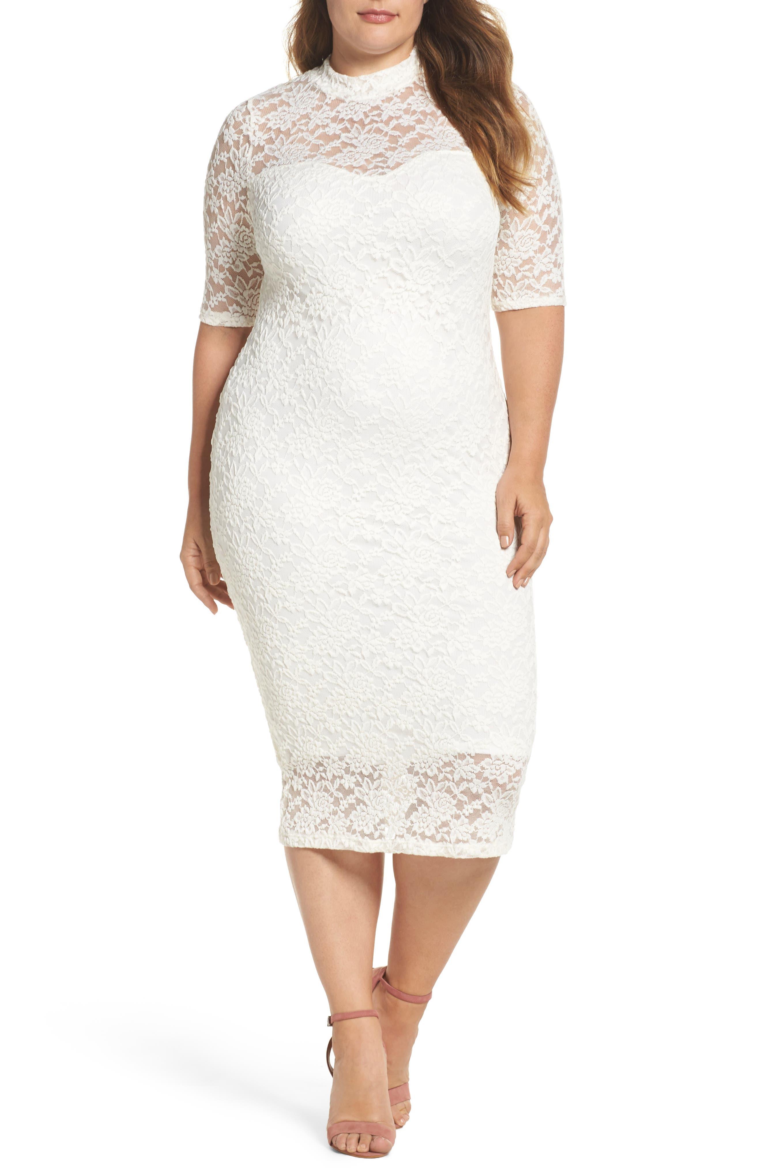 Lace Body-Con Midi Dress,                             Main thumbnail 1, color,                             Off White