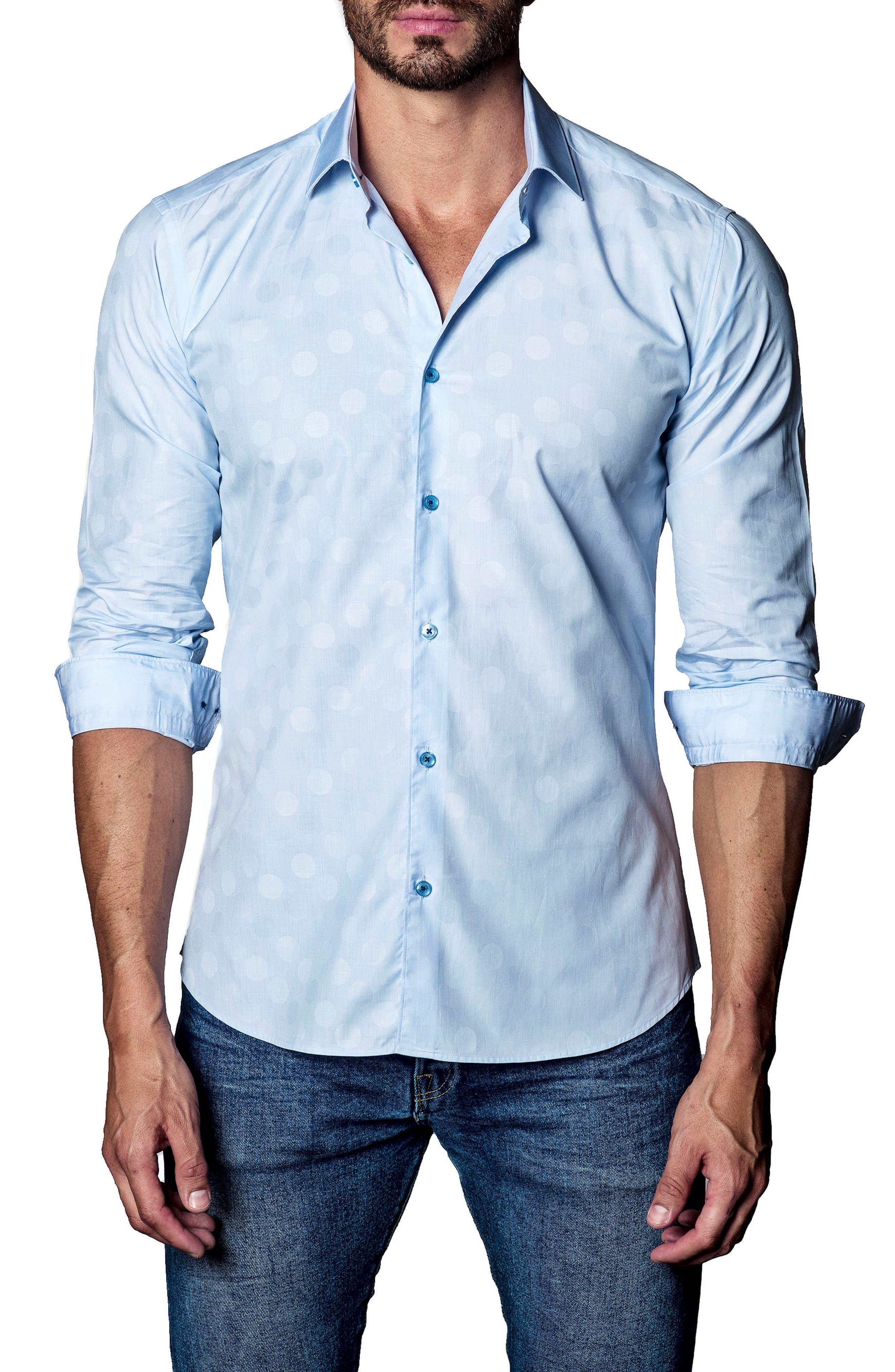 Dot Print Sport Shirt,                             Main thumbnail 1, color,                             Light Blue Polka Dot Jacquard