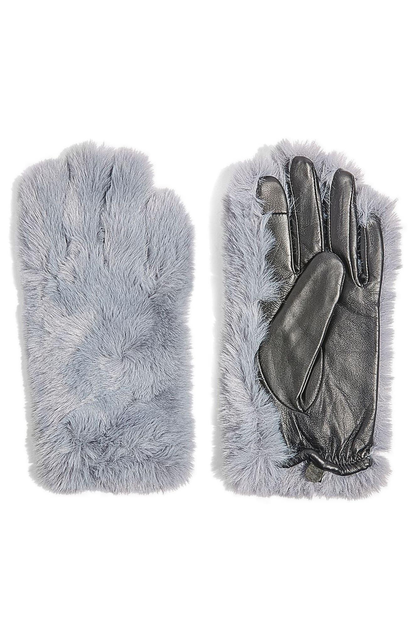 Faux Fur & Leather Gloves,                             Main thumbnail 1, color,                             Grey