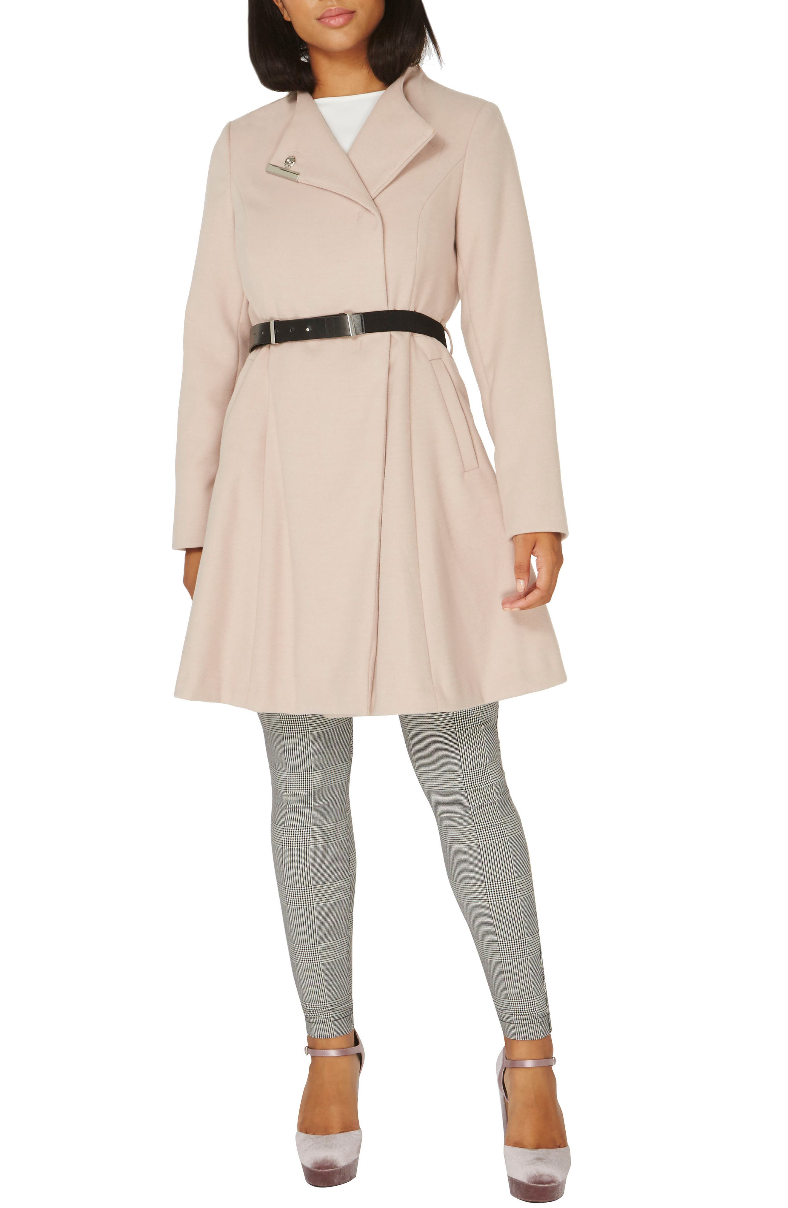 Skirted Coat,                         Main,                         color, Blush