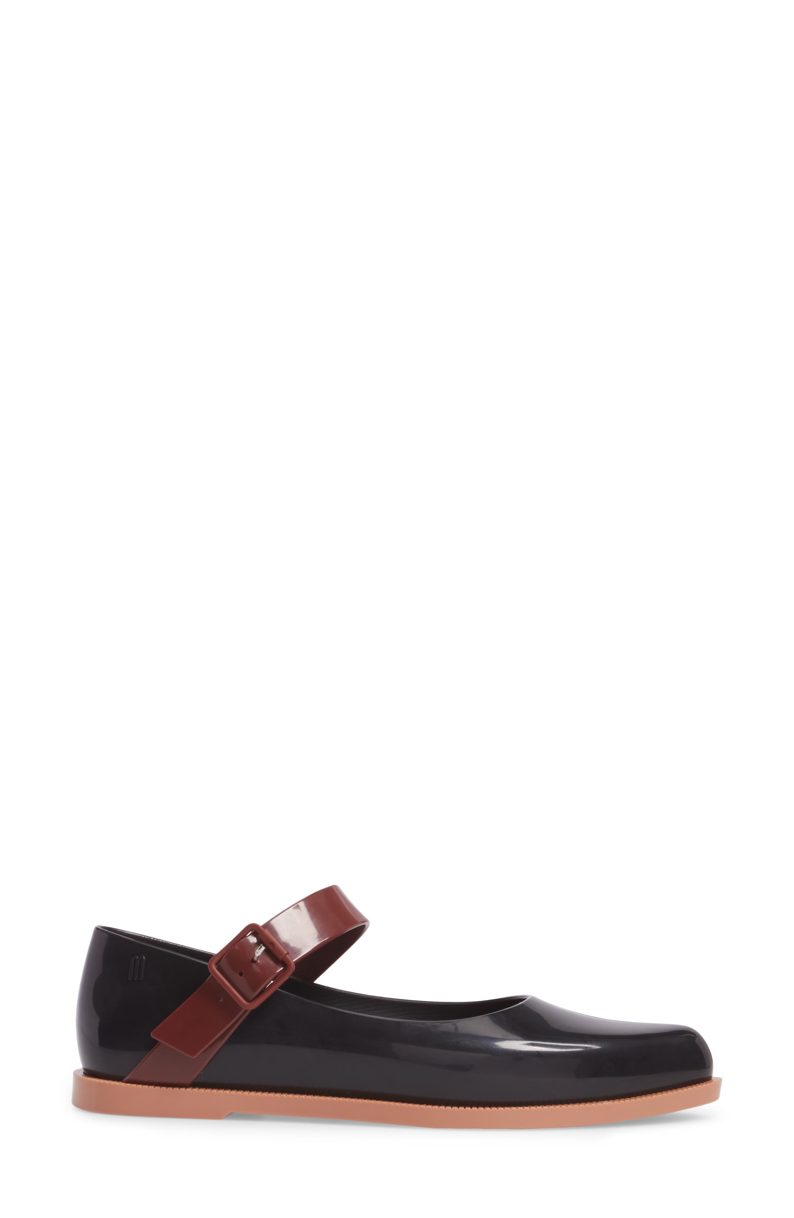Pointy Toe Mary Jane Flat,                             Alternate thumbnail 3, color,                             Black Brown
