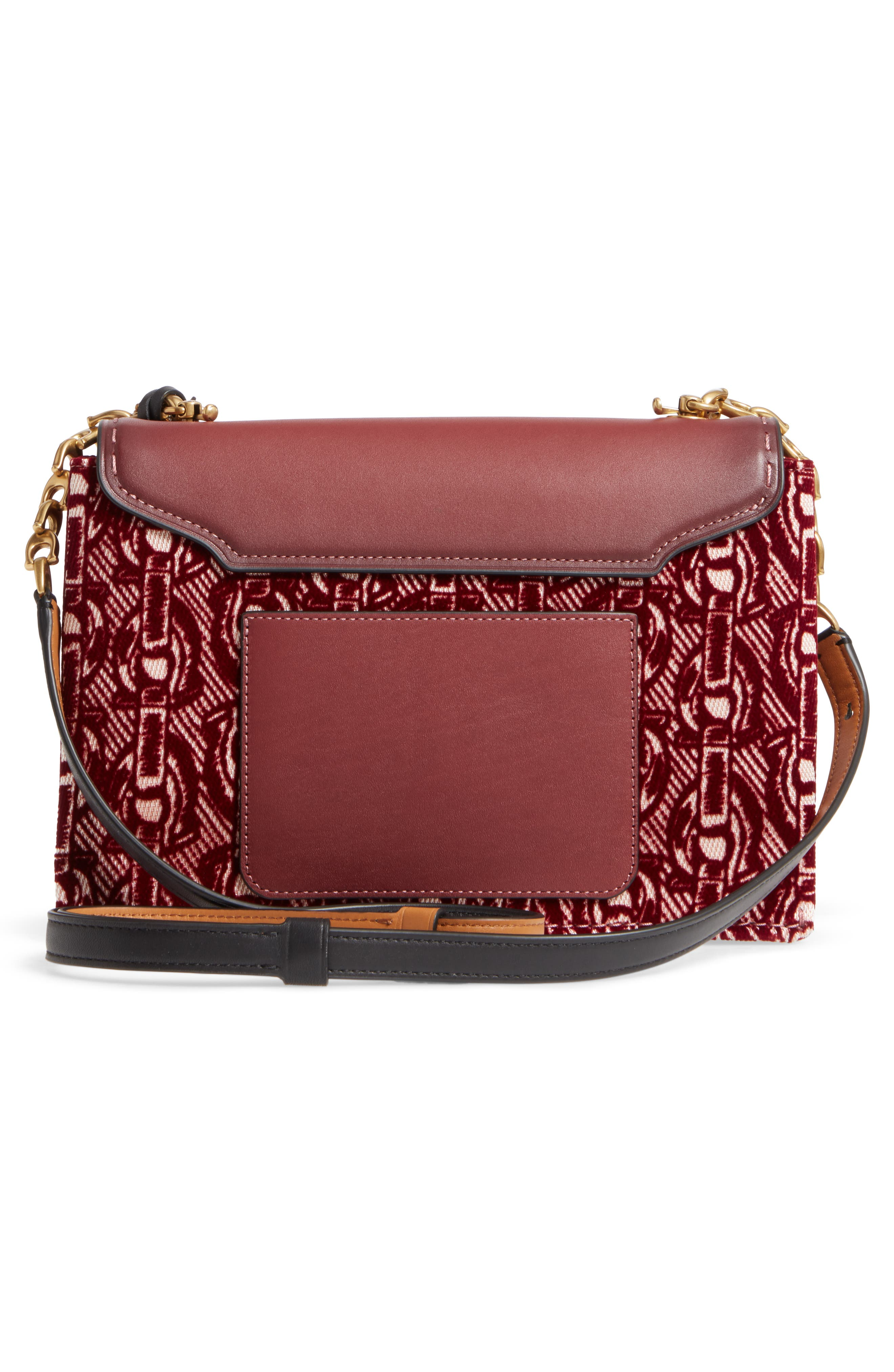 Swagger Chain Leather Crossbody Bag,                             Alternate thumbnail 3, color,                             Bordeaux