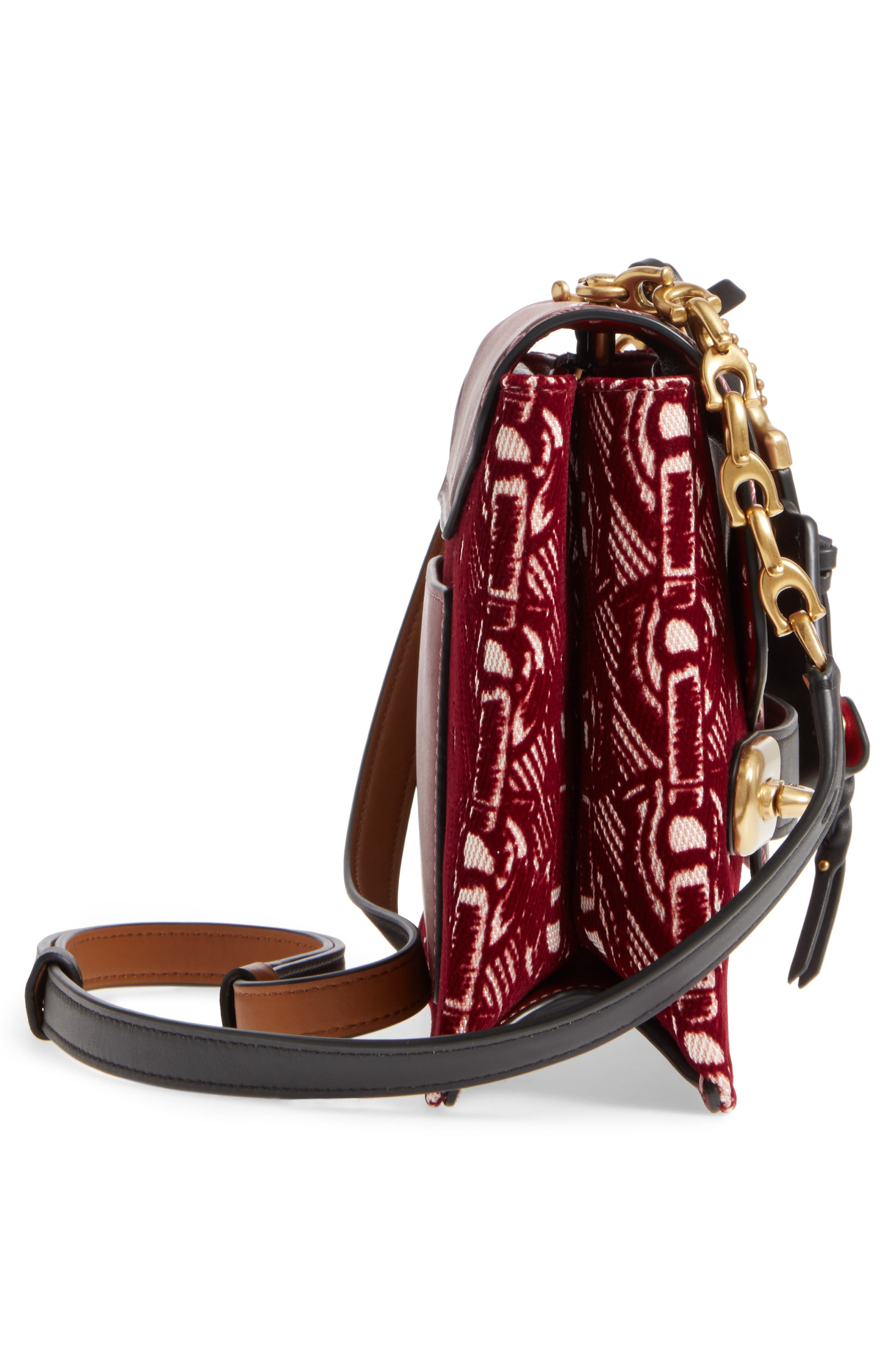 Swagger Chain Leather Crossbody Bag,                             Alternate thumbnail 5, color,                             Bordeaux