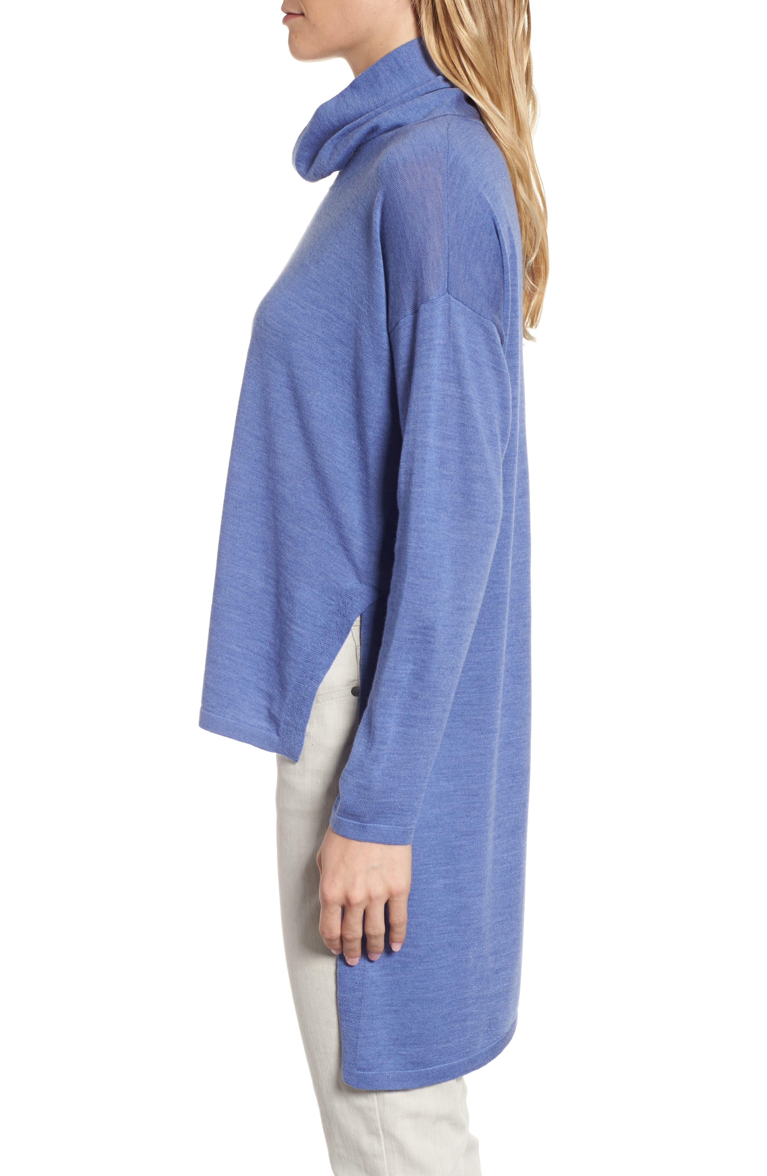 Asymmetrical Merino Wool Sweater,                             Alternate thumbnail 3, color,                             Periwinkle