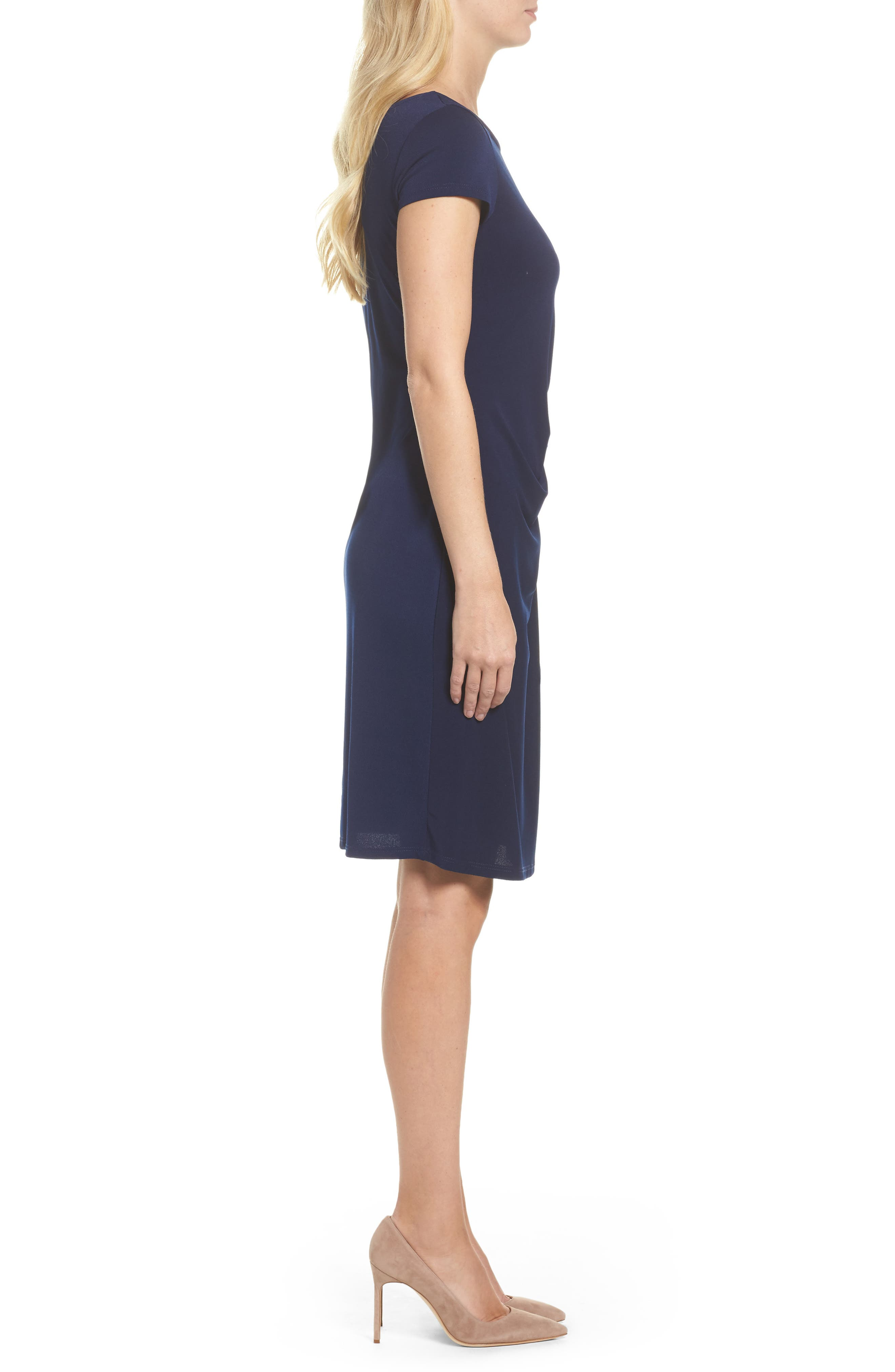 Madison Stretch Sheath Dress,                             Alternate thumbnail 3, color,                             Classic Navy