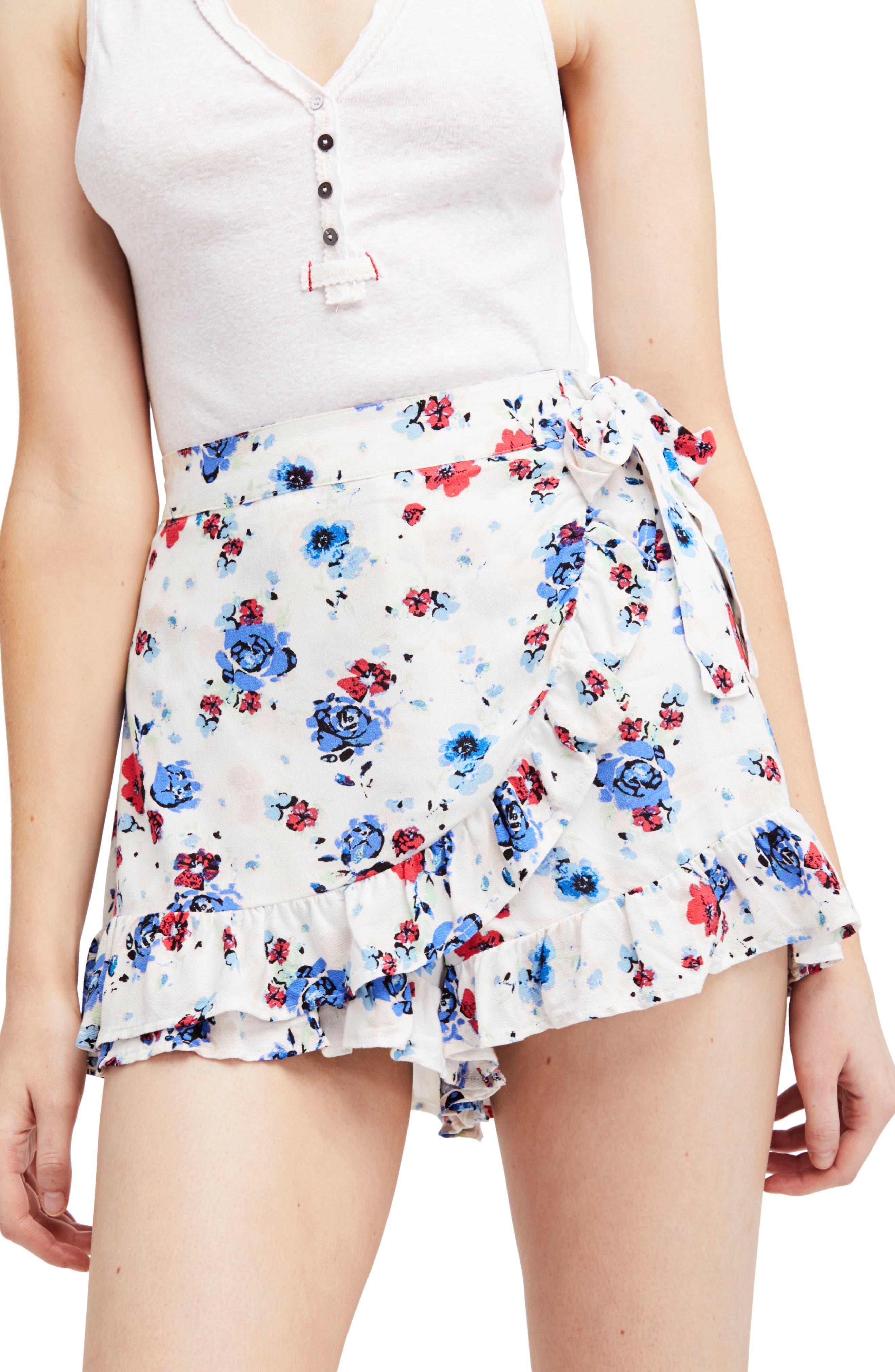 Flirting Fleurs Mini Skort,                         Main,                         color, White