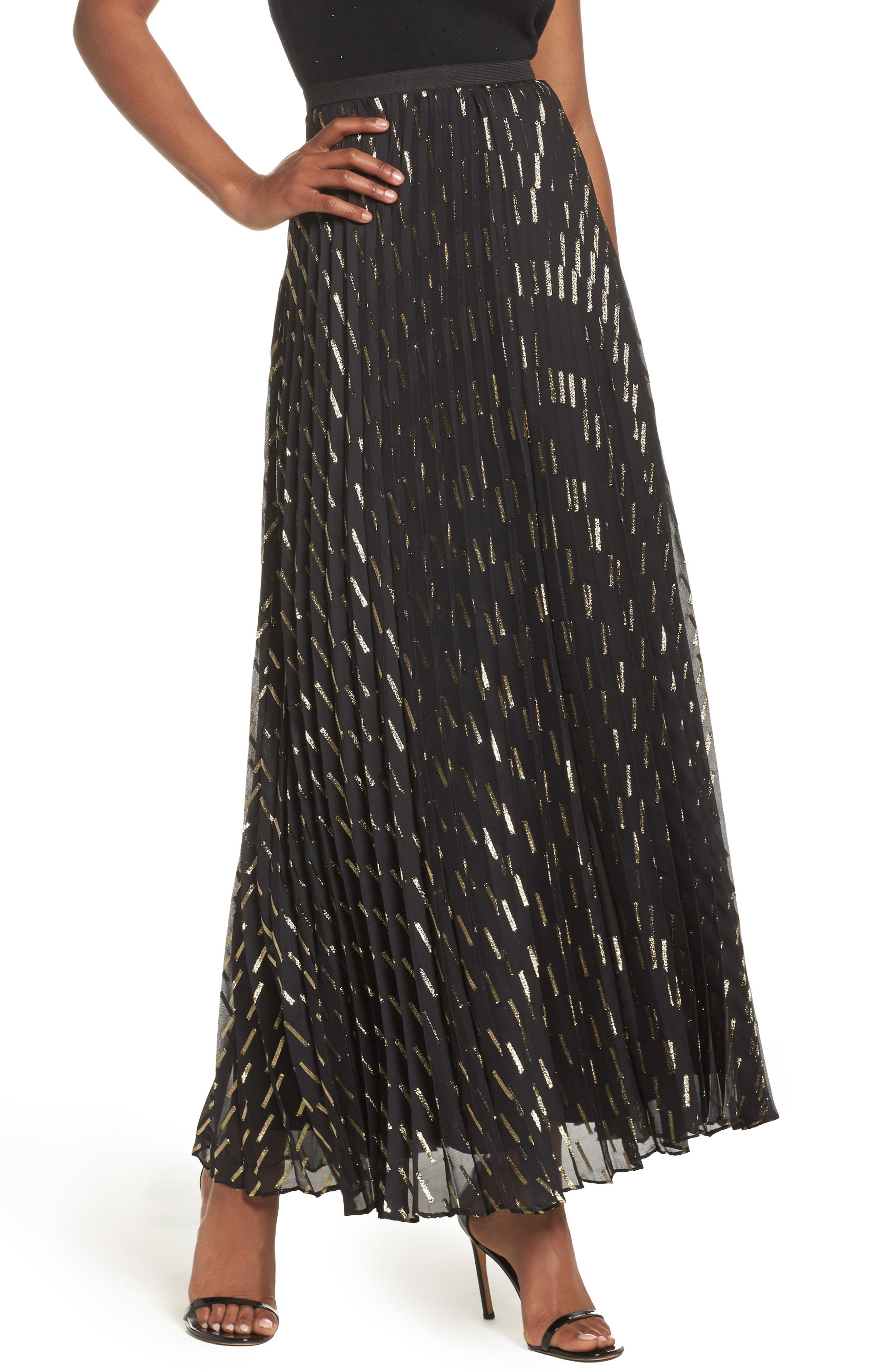 Metallic Detail Pleated Chiffon Maxi Skirt,                             Main thumbnail 1, color,                             Black Gold