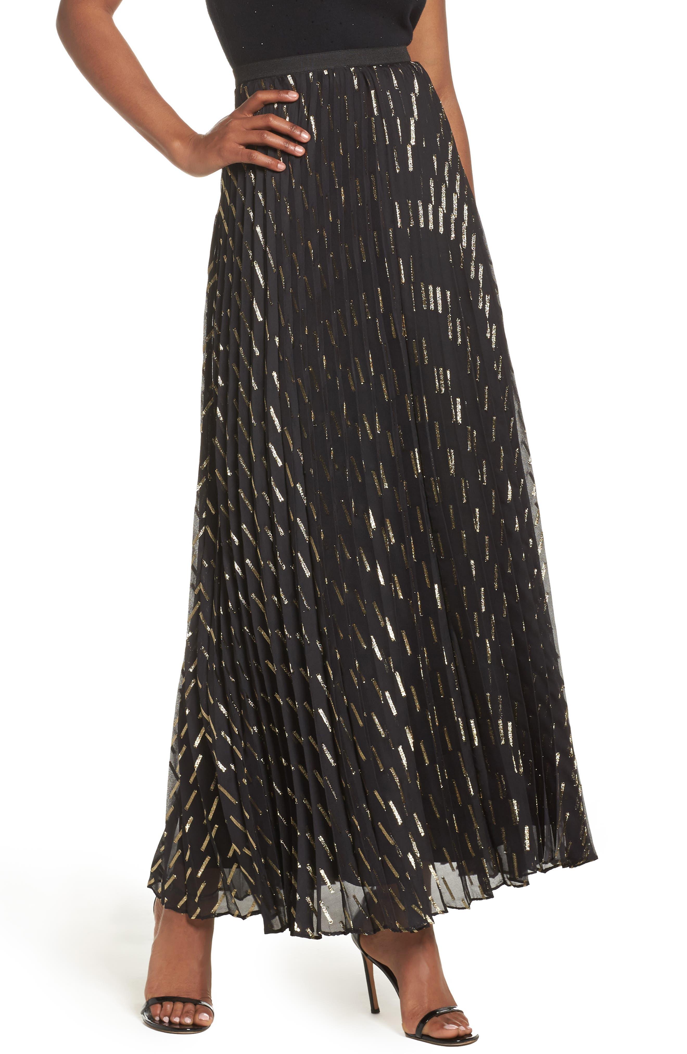 Metallic Detail Pleated Chiffon Maxi Skirt,                         Main,                         color, Black Gold