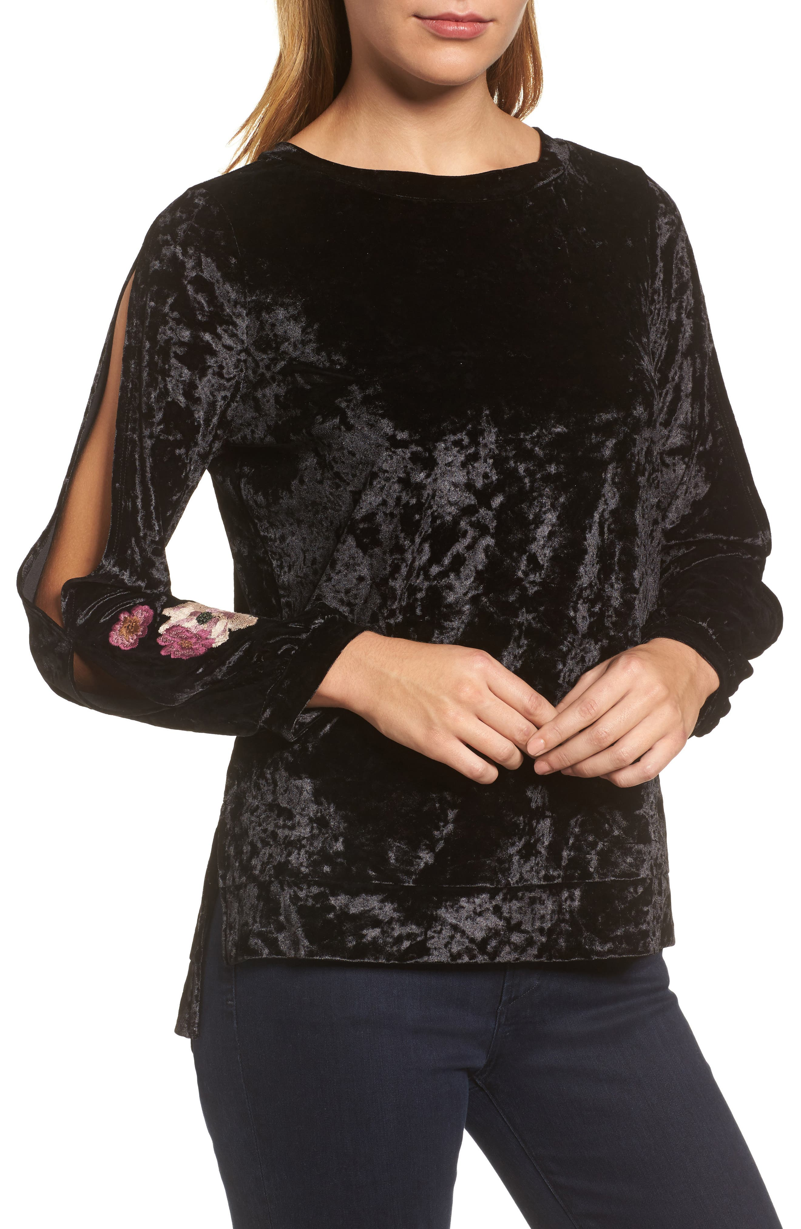 Split Sleeve Embroidered Top,                             Main thumbnail 1, color,                             Black