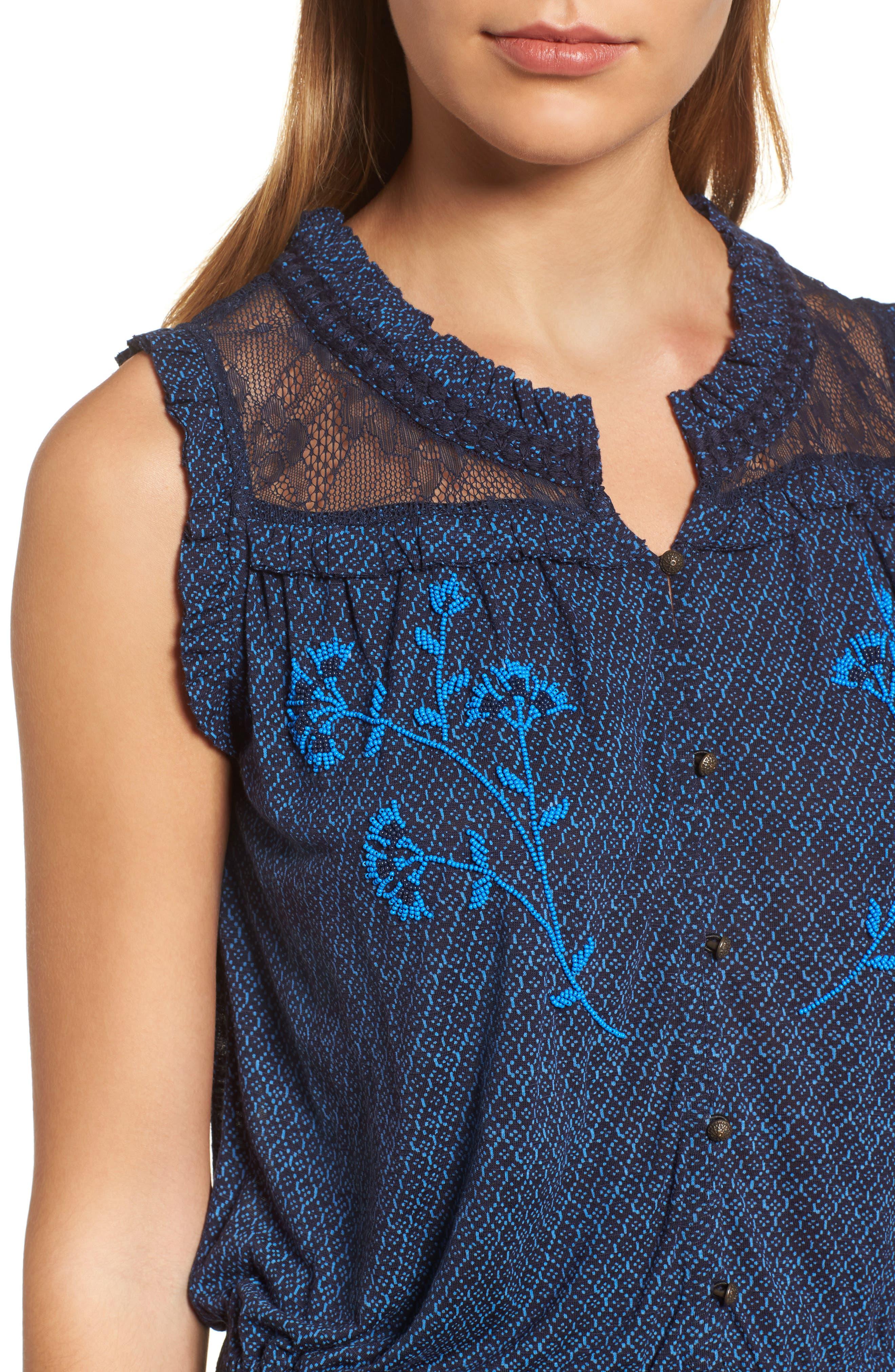 Alternate Image 4  - Lucky Brand Beaded Tie Waist Top