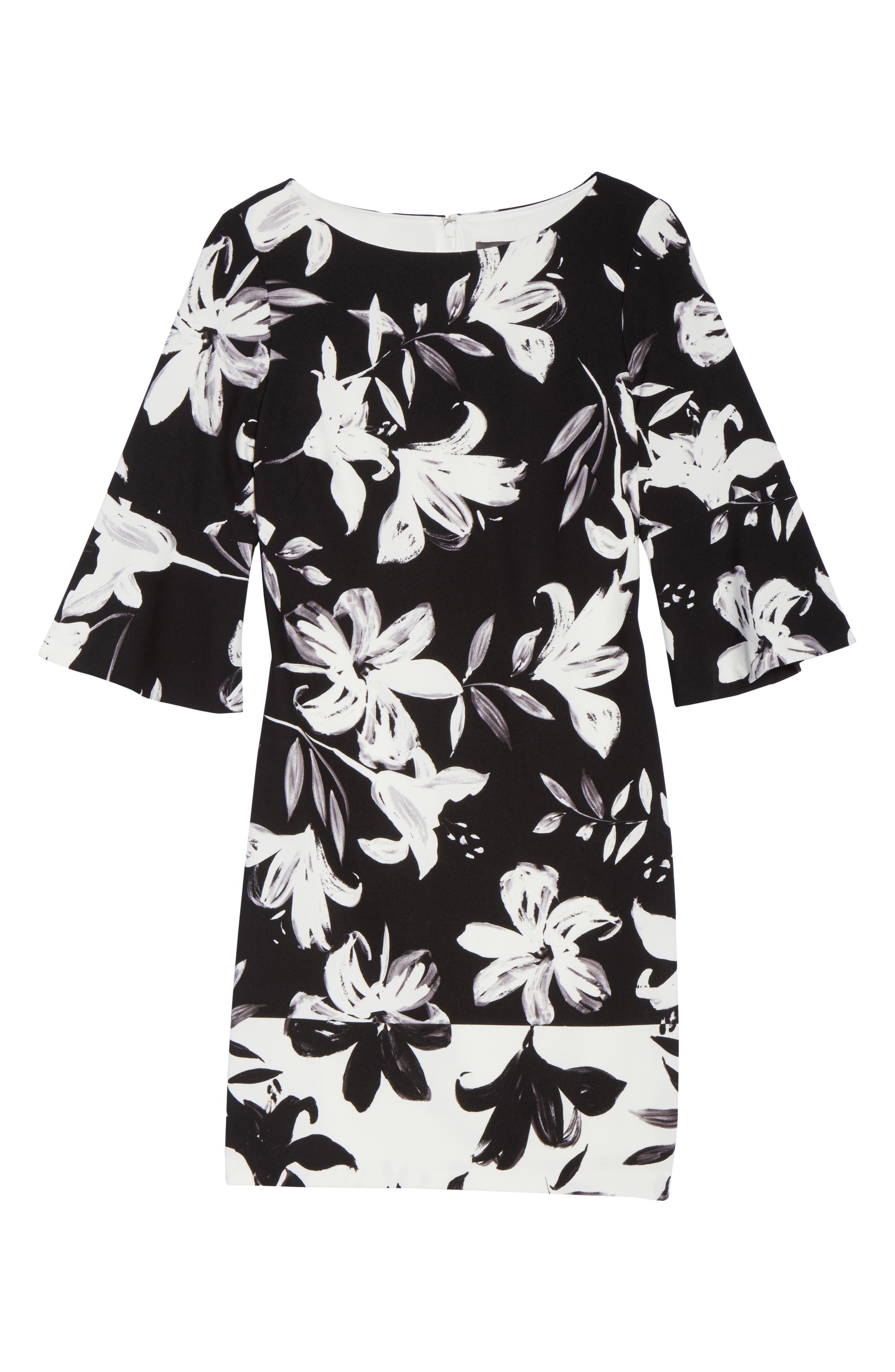 Flare Sleeve Shift Dress,                             Alternate thumbnail 6, color,                             Black/ Ivory