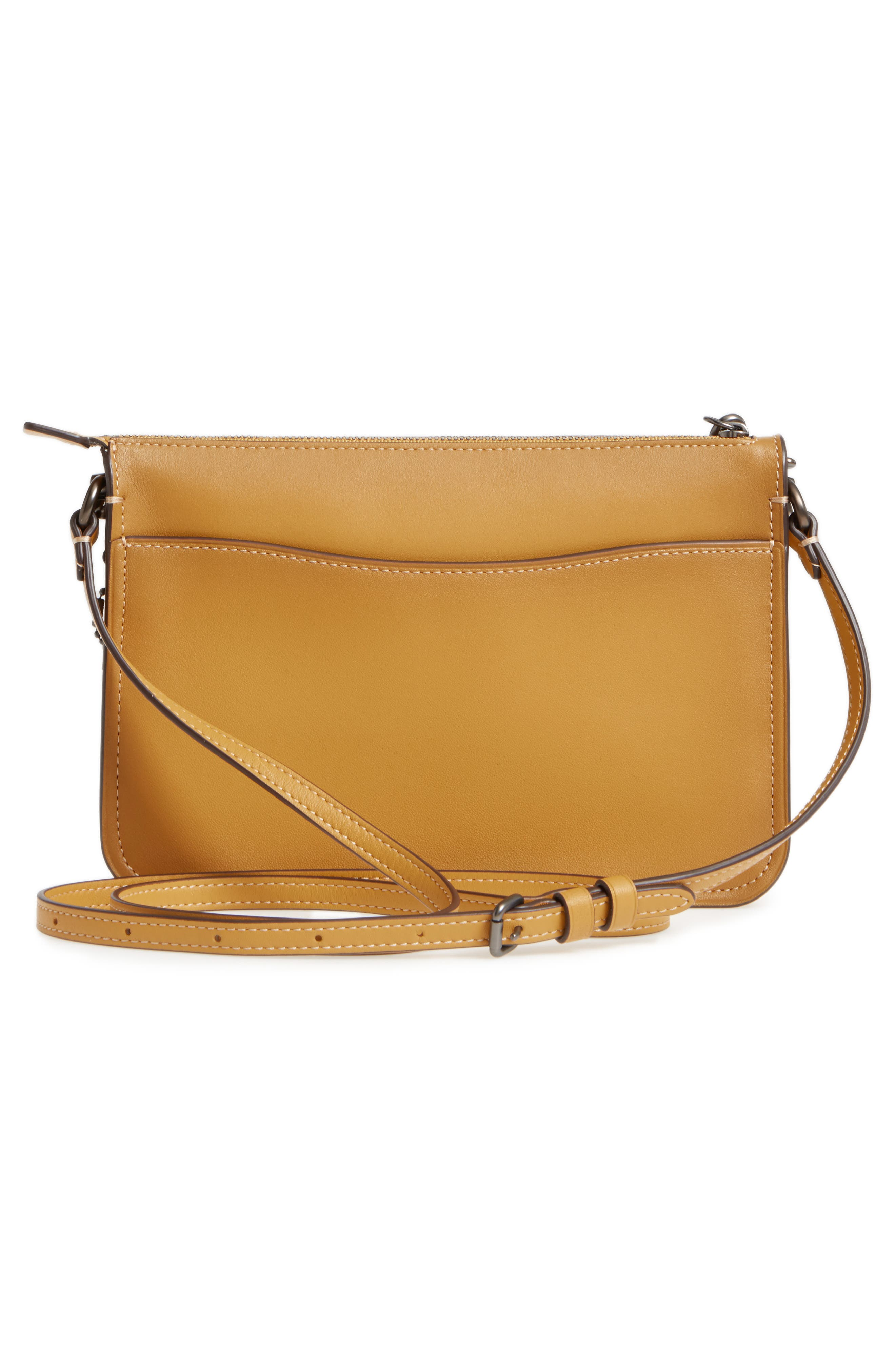 Soho Leather Crossbody Bag,                             Alternate thumbnail 3, color,                             Flax