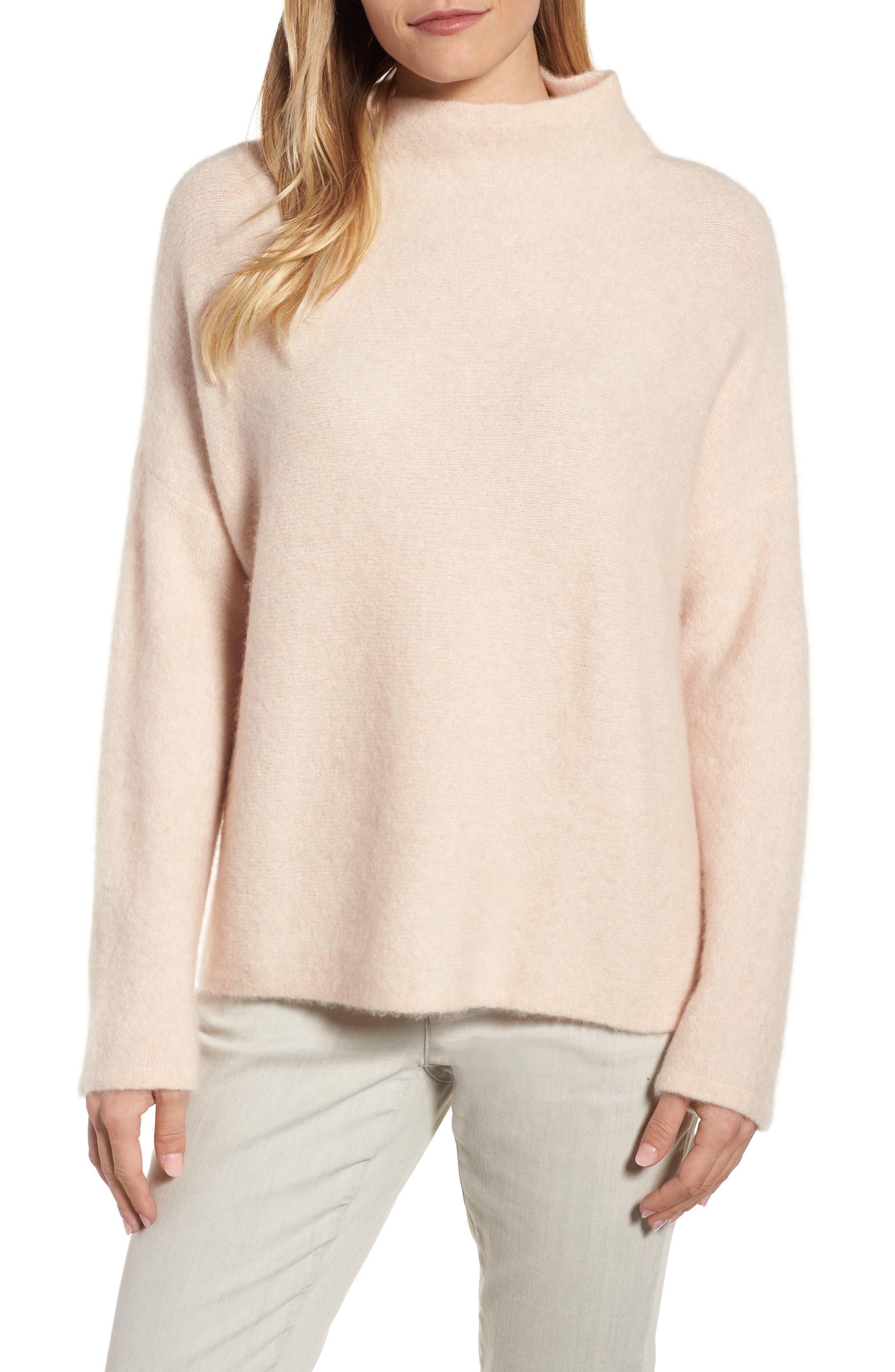 'Bouclé Bliss' Cashmere & Silk Blend Funnel Neck Sweater,                             Main thumbnail 1, color,                             Dune