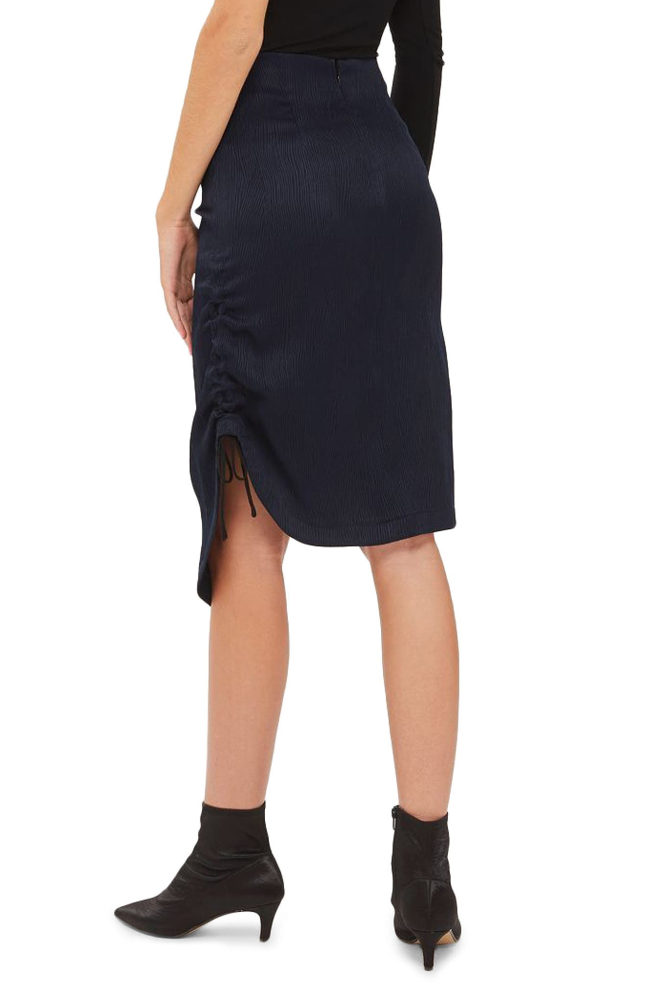 Ruched Skirt,                             Alternate thumbnail 2, color,                             Navy Blue