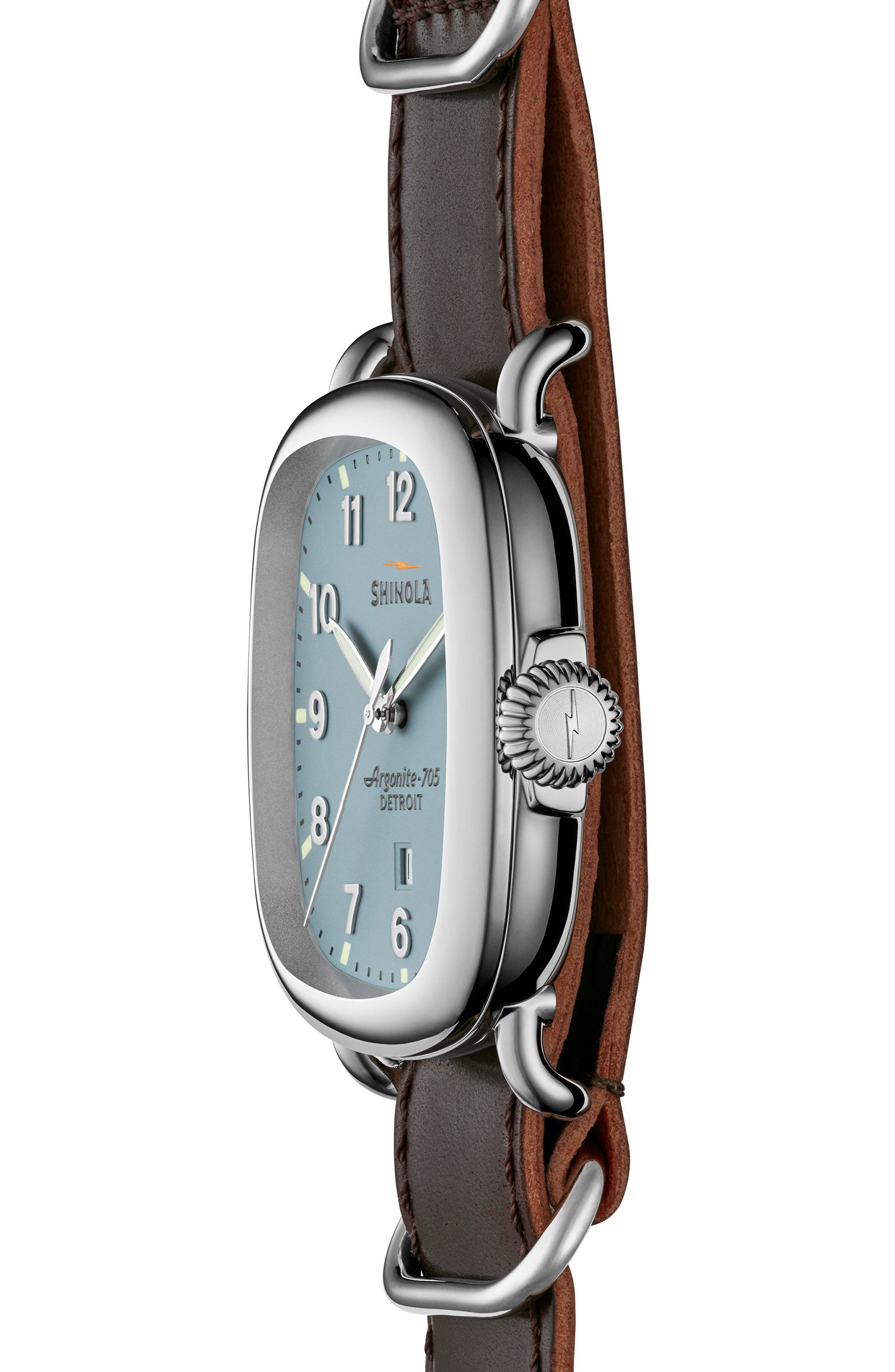 The Guardian Leather Strap Watch, 41.5mm x 43mm,                             Alternate thumbnail 3, color,                             Oxblood/ Slate Blue/ Silver