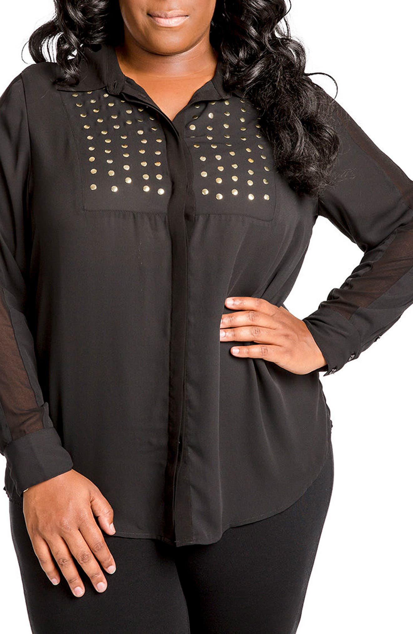 Alternate Image 1 Selected - Poetic Justice Denise Studded Georgette Blouse (Plus Size)