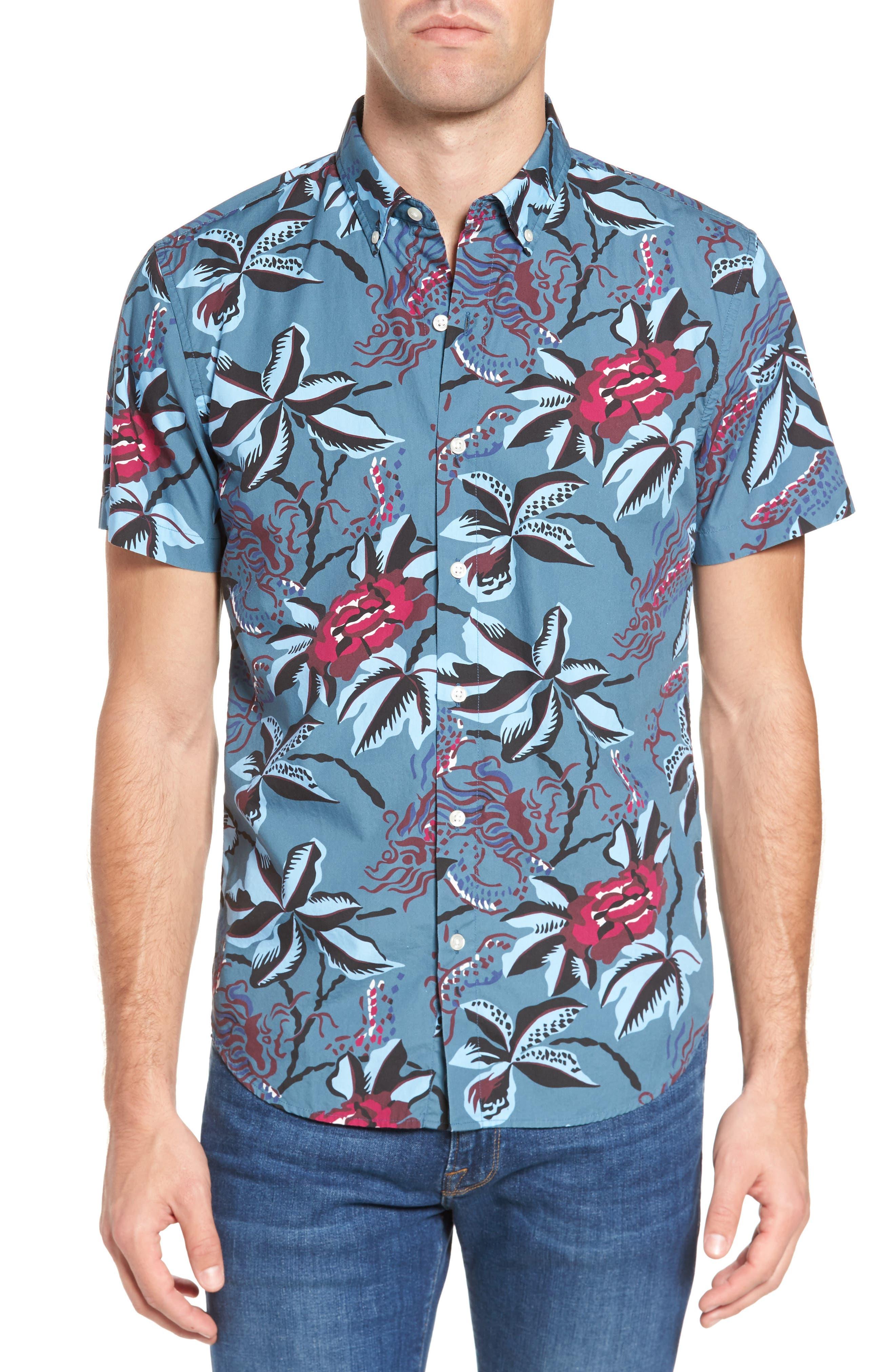 Slim Fit Floral Print Sport Shirt,                         Main,                         color, Bali High