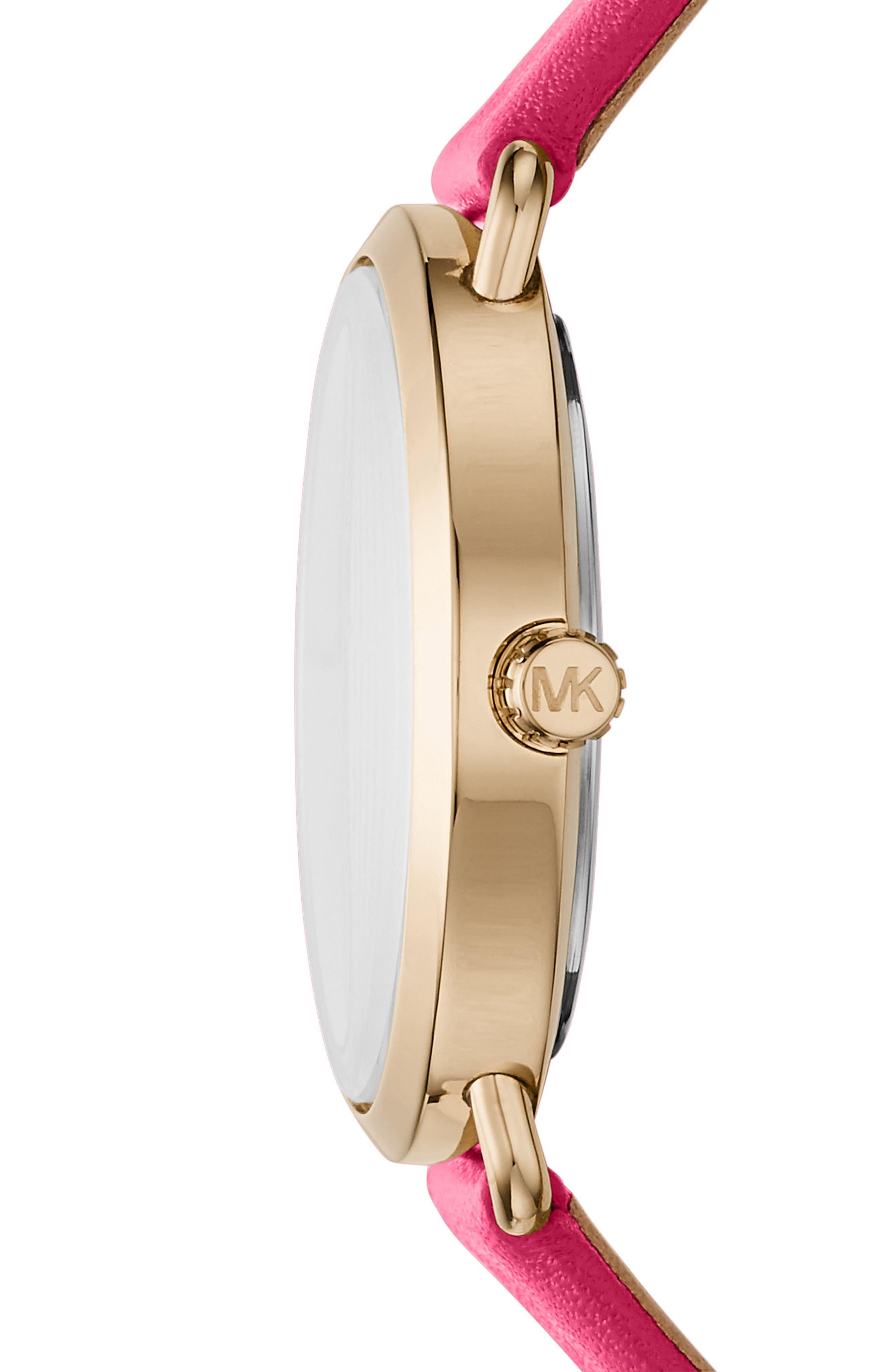 Alternate Image 2  - Michael Kors Portia Leather Strap Watch, 36mm