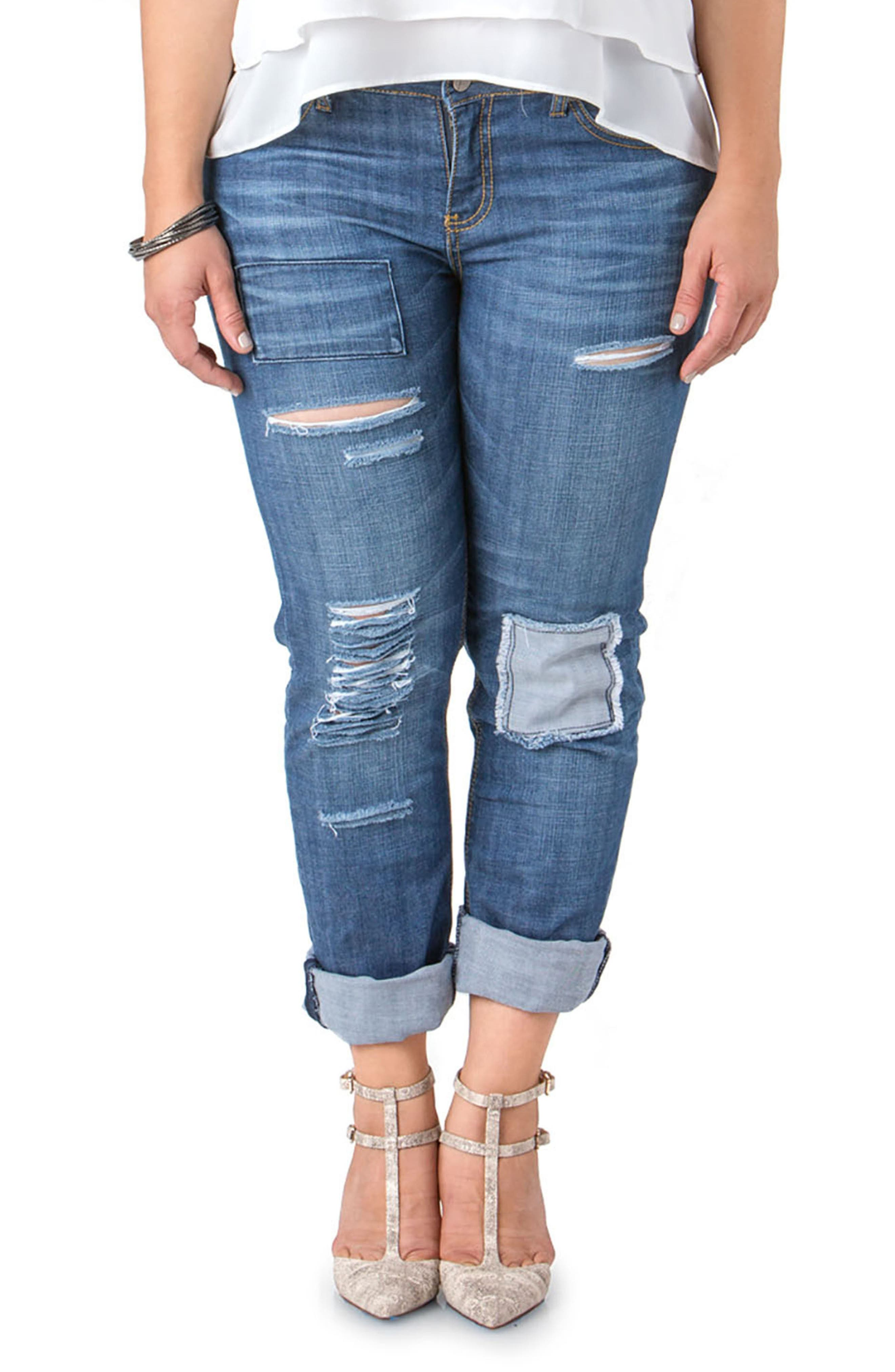 Alternate Image 1 Selected - Standards & Practices Rip & Repair X-Boyfriend Jeans (Plus Size)