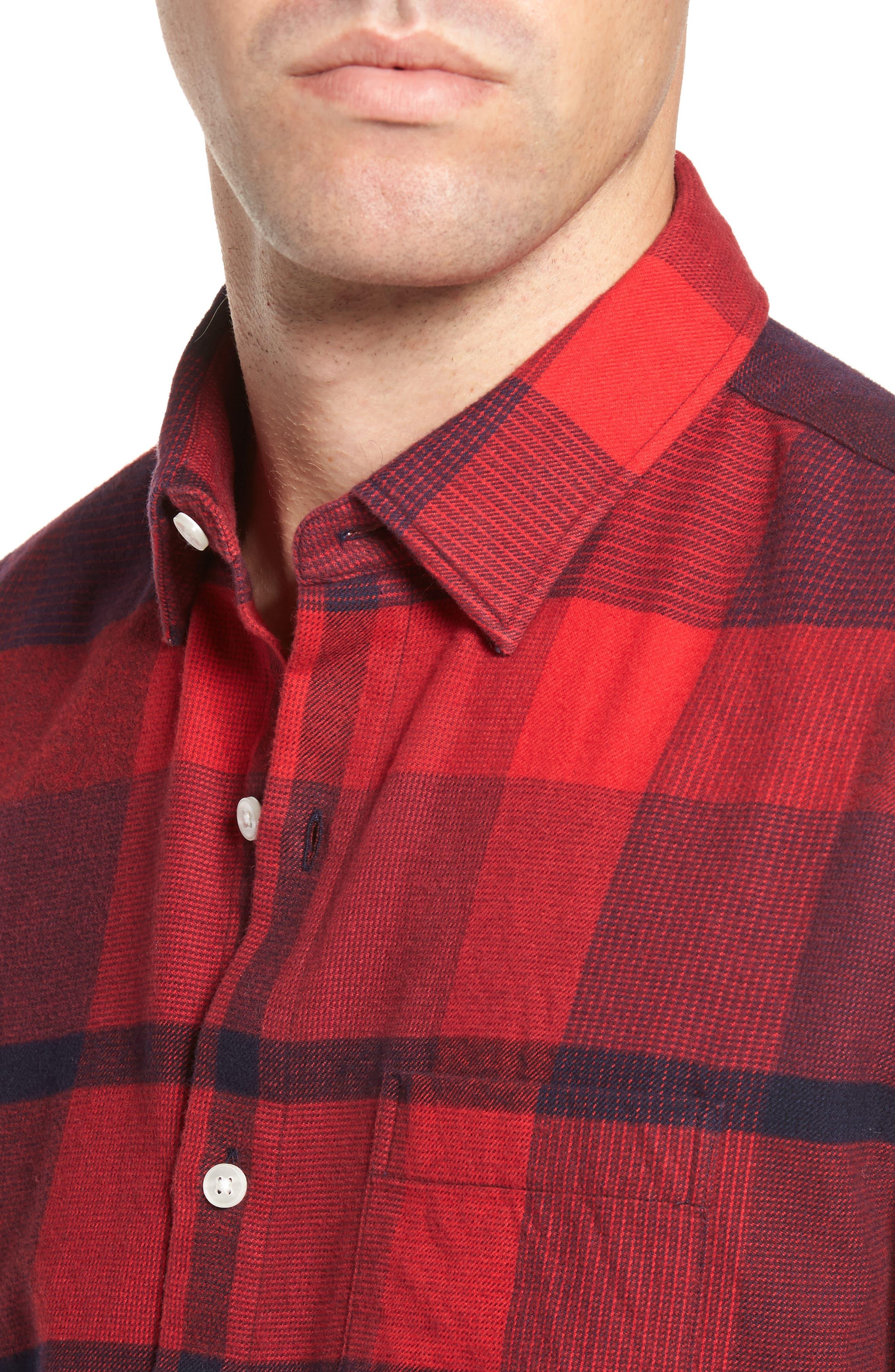 Slim Fit Brushed Plaid Sport Shirt,                             Alternate thumbnail 4, color,                             Big Check/ Firecracker