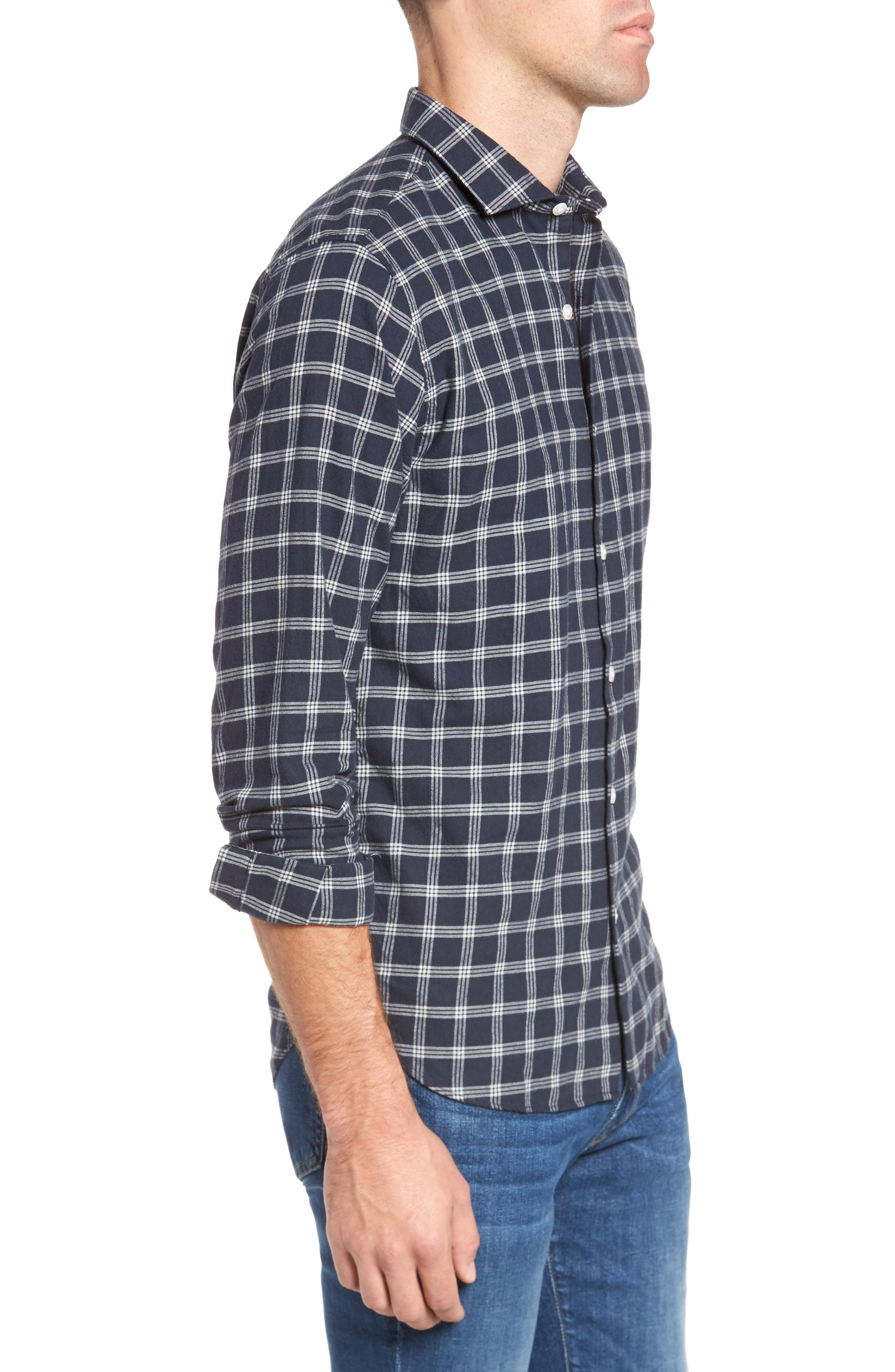 Unbutton Down Slim Fit Check Sport Shirt,                             Alternate thumbnail 3, color,                             Keene Plaid