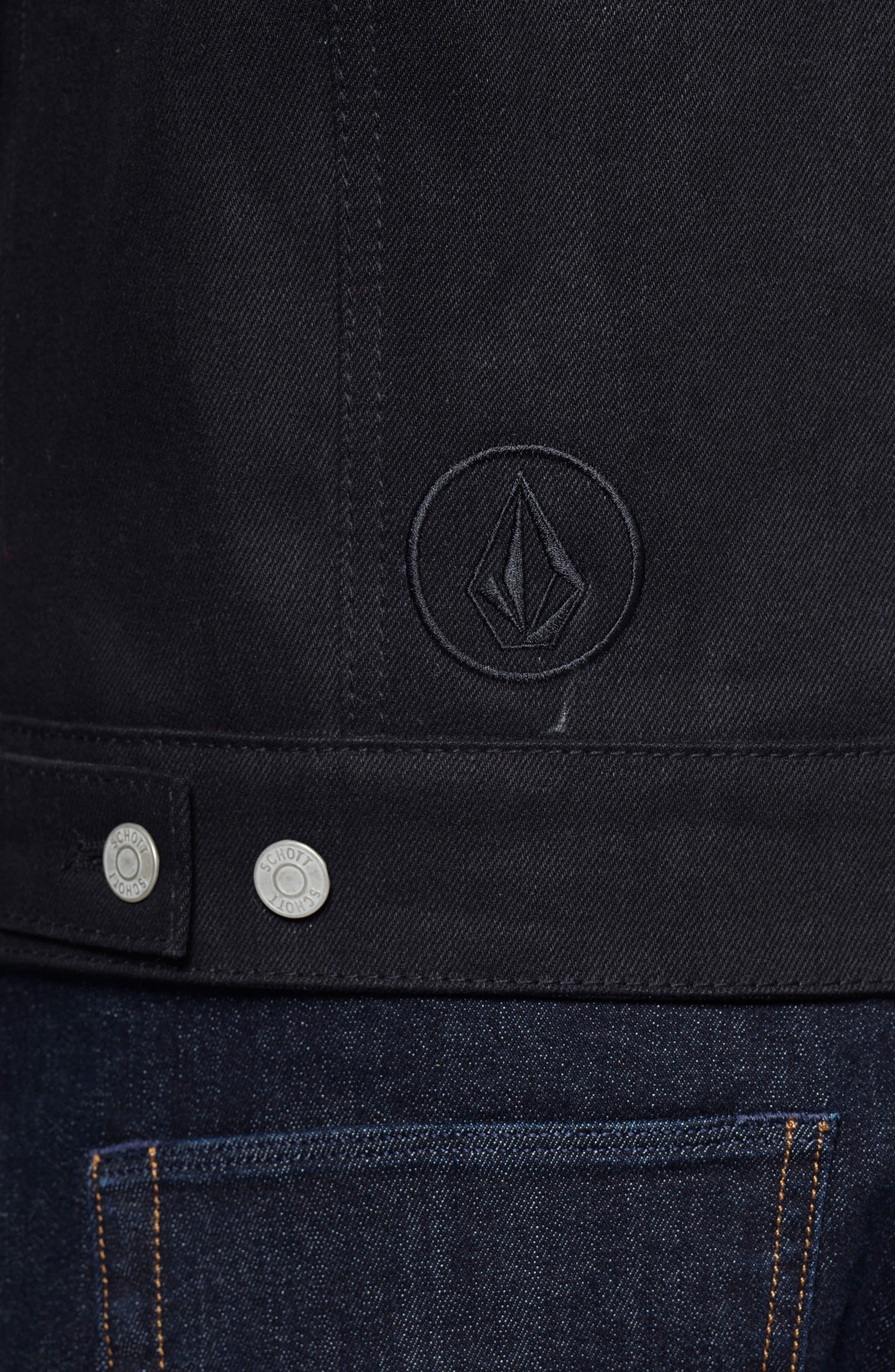 x Schott Denim Jacket,                             Alternate thumbnail 4, color,                             Black