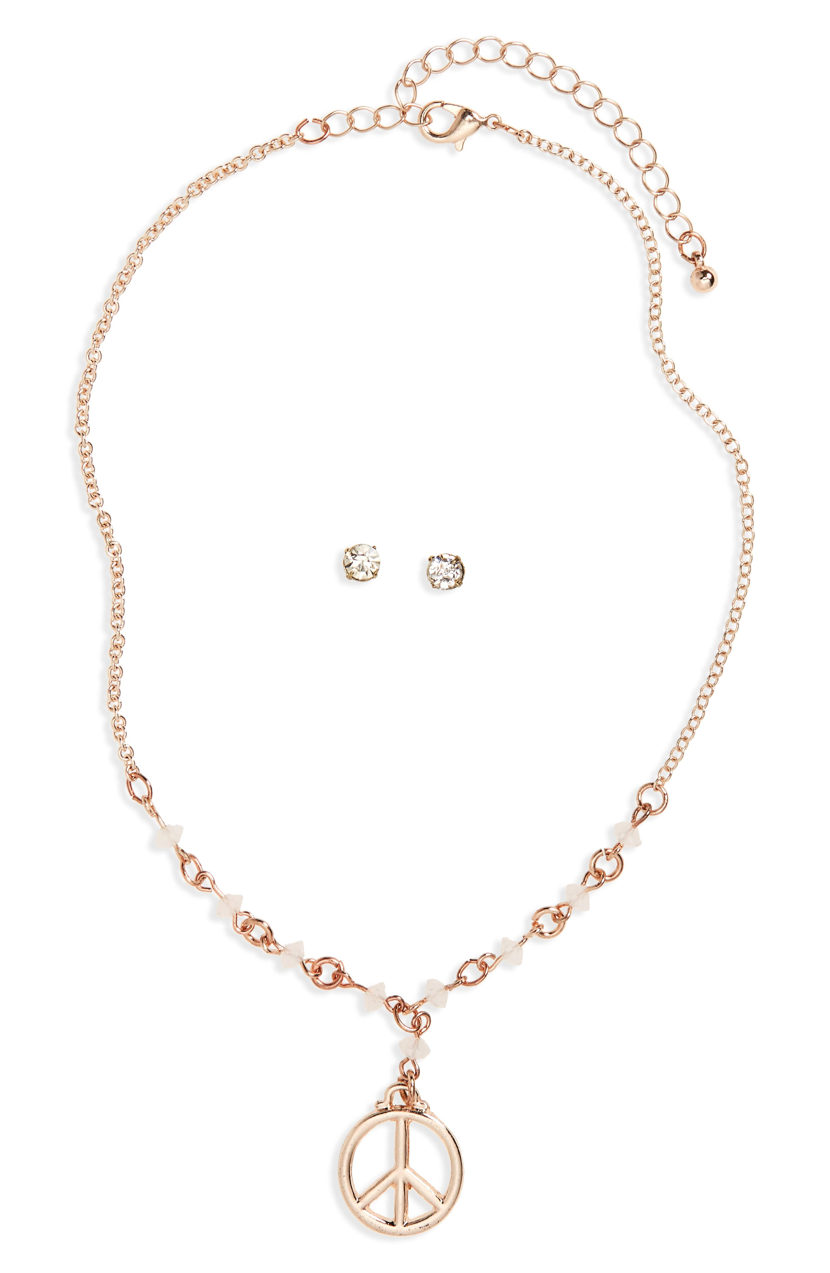Party Time Pendant Necklace & Earrings Set,                         Main,                         color, Rose Gold