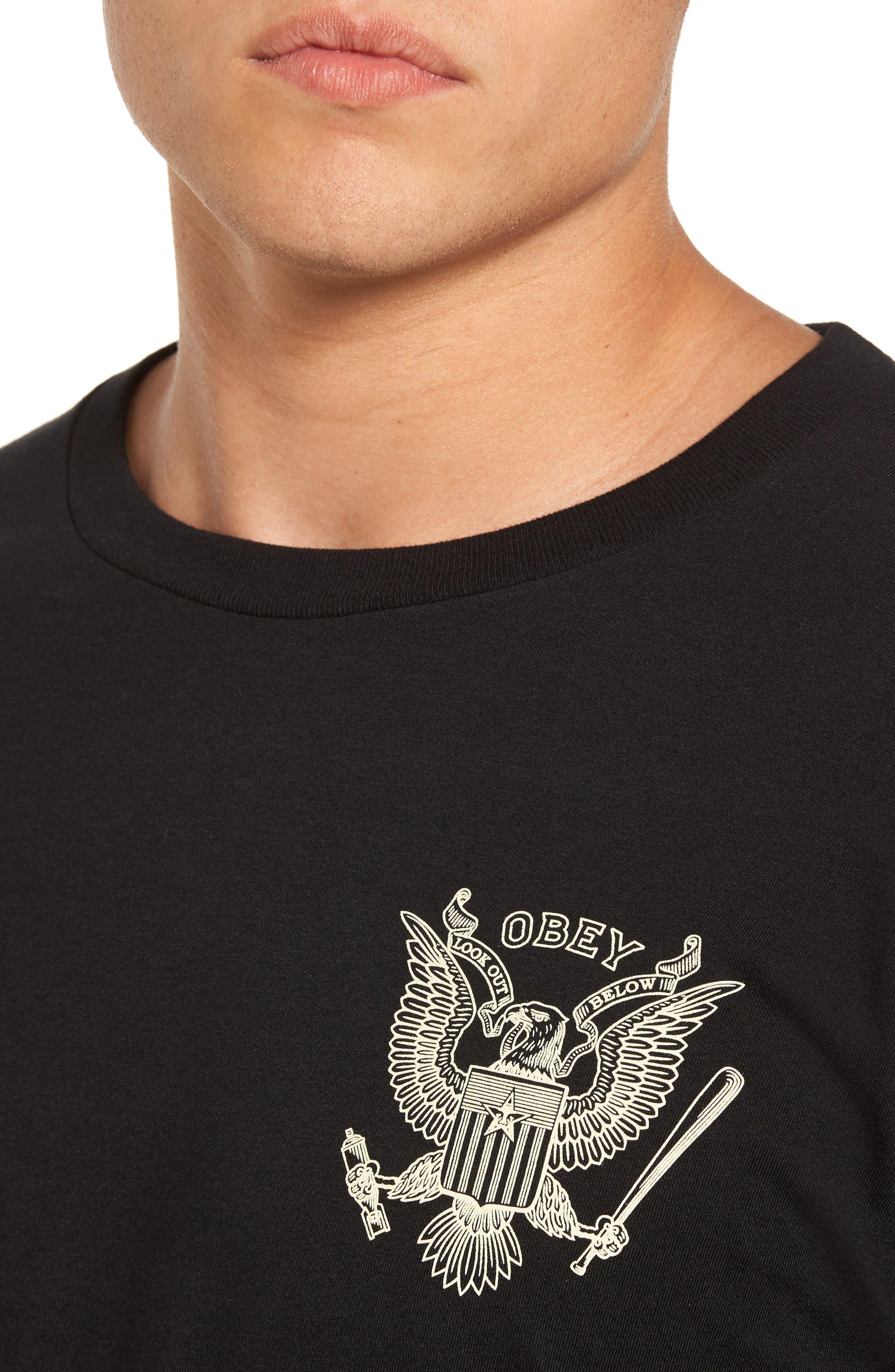 Look Out Below Premium Graphic T-Shirt,                             Alternate thumbnail 4, color,                             Black