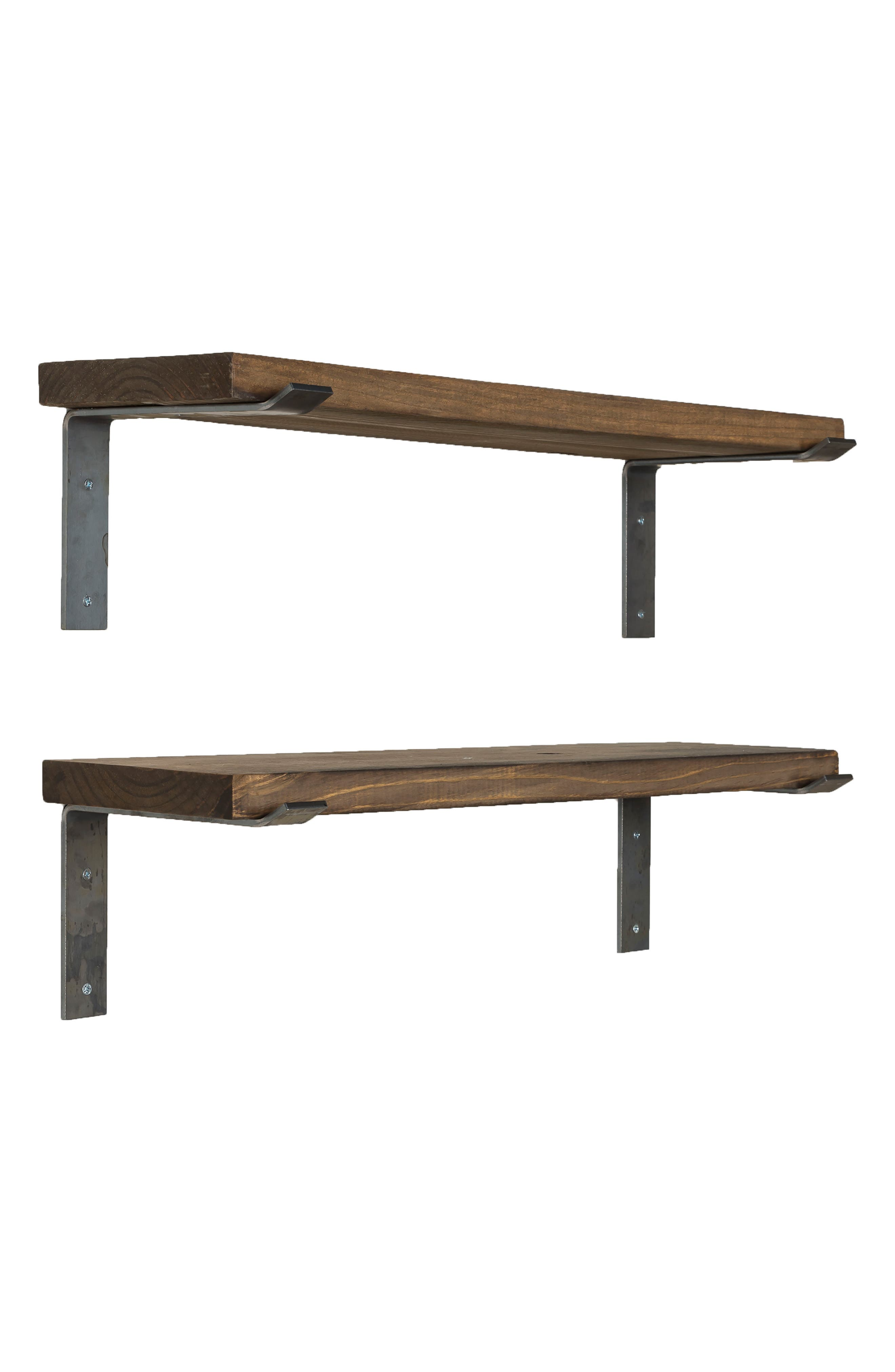 Set of 2 Industrial Bracket Shelves,                             Alternate thumbnail 7, color,                             Dark Walnut