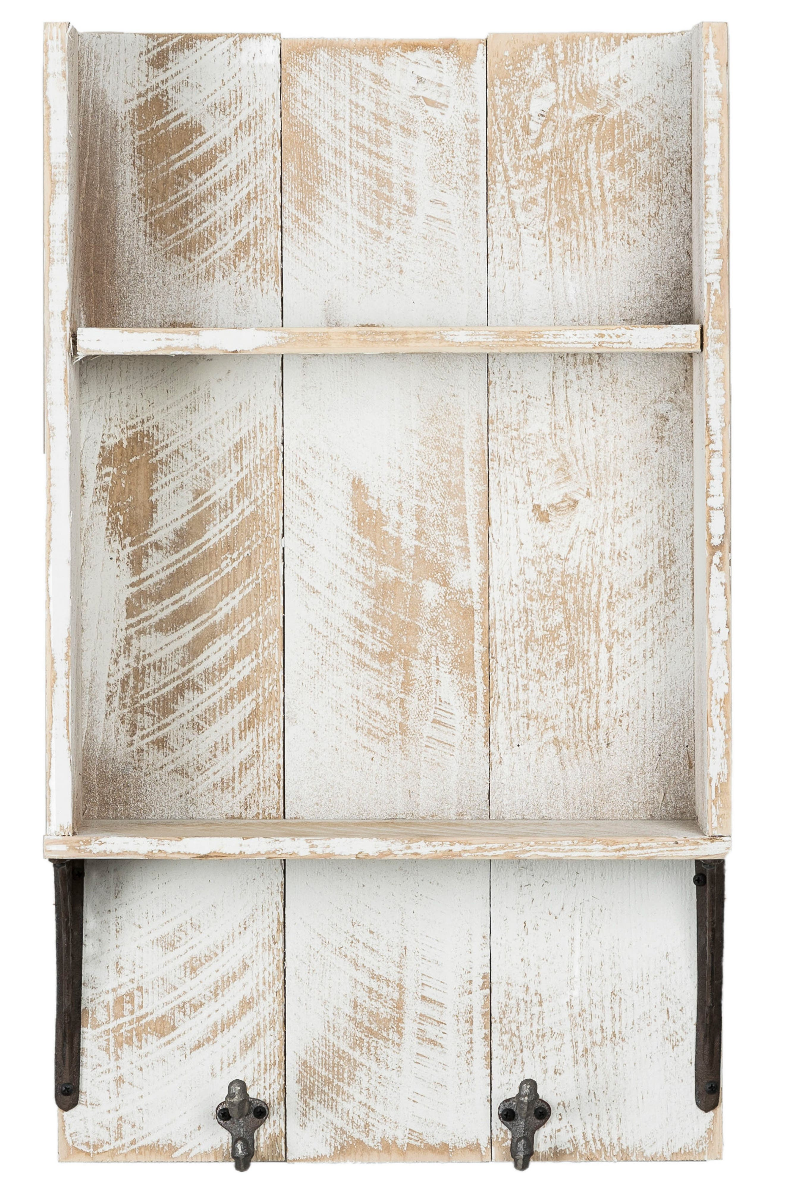 Reclaimed Wood Shelf with Hooks,                         Main,                         color, White