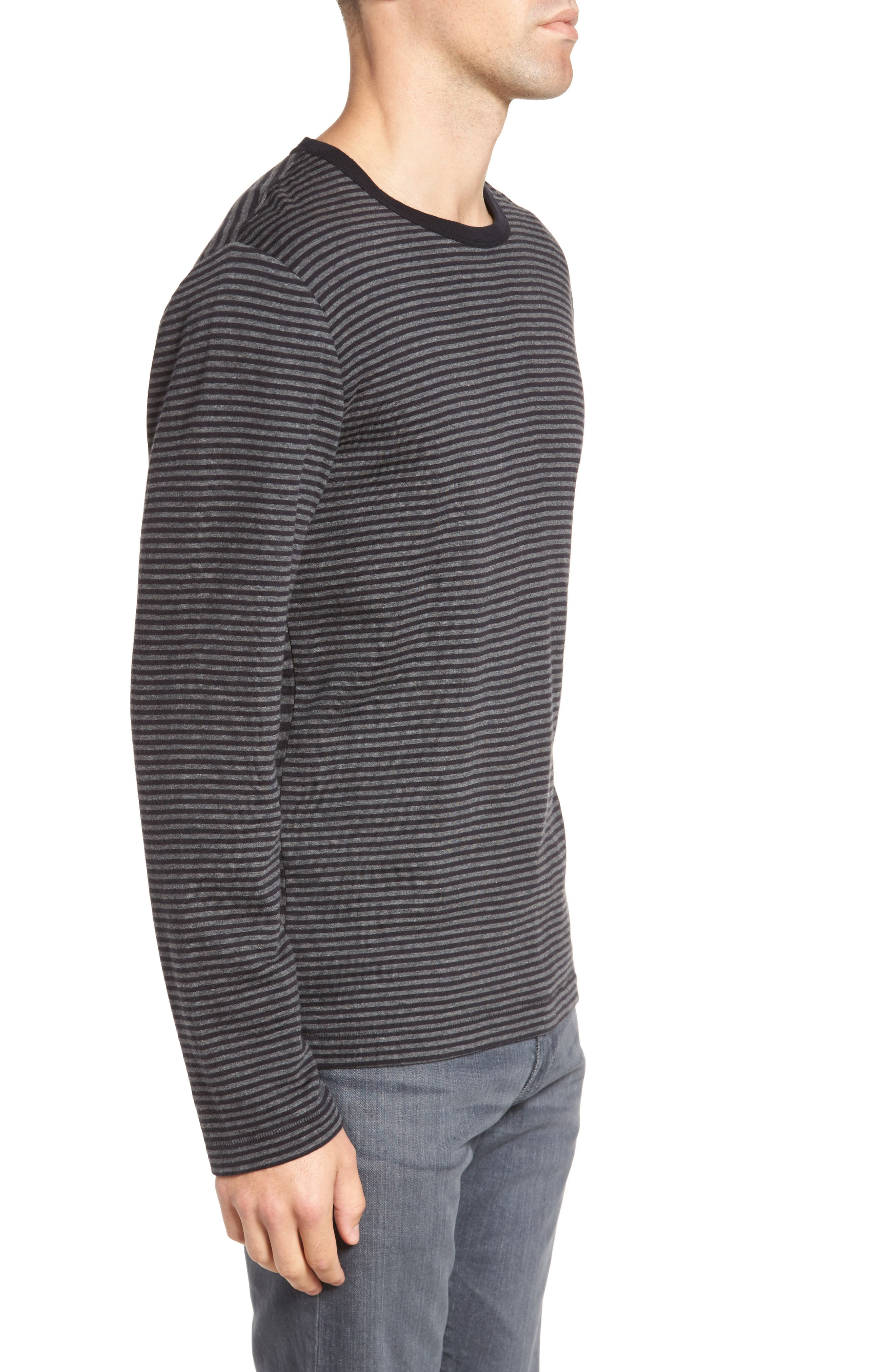 Alternative Stripe Long Sleeve T-Shirt,                             Alternate thumbnail 3, color,                             Charcoal Melange/ Black
