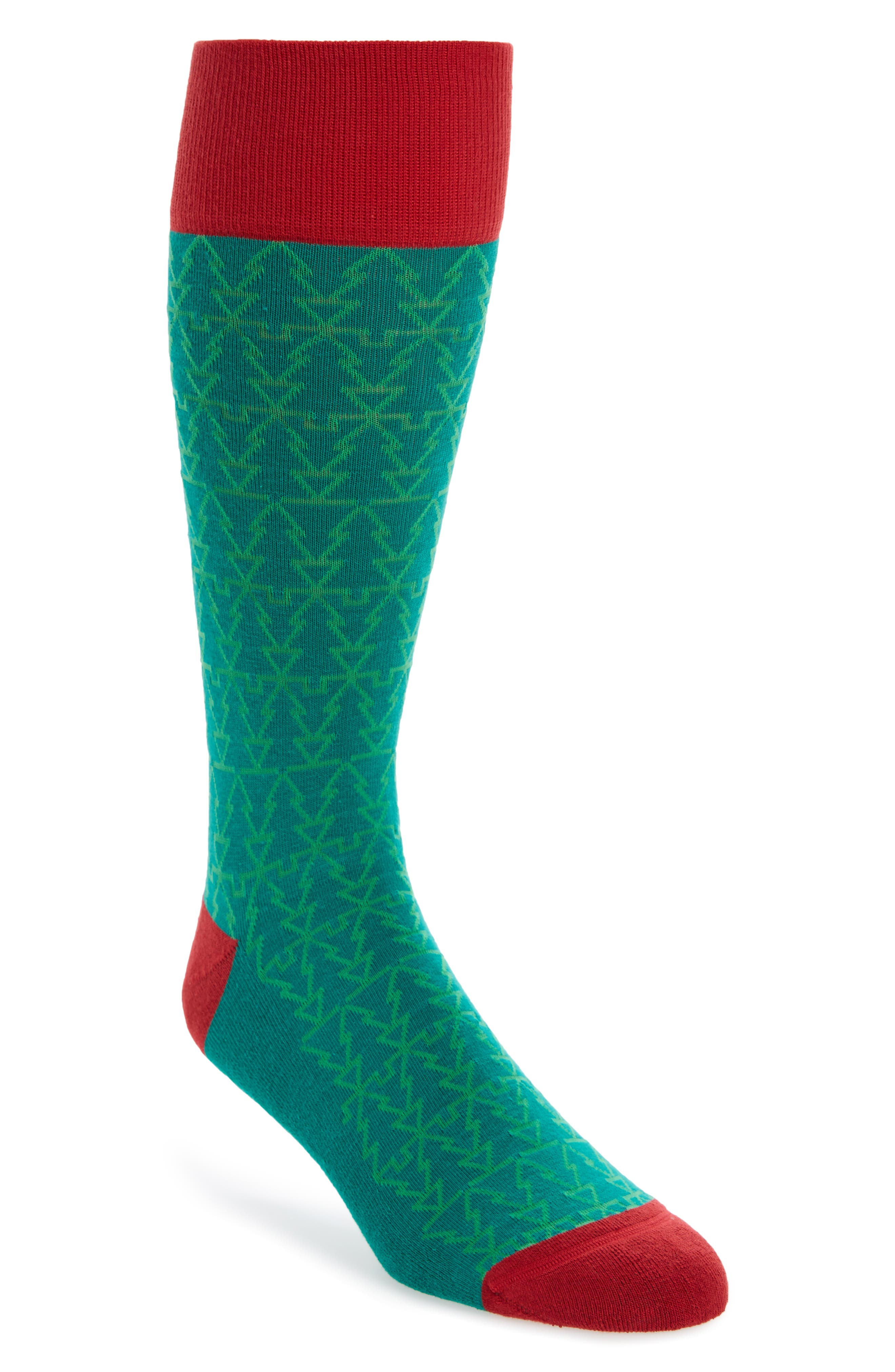 Holiday Mosaic Tree Socks,                             Main thumbnail 1, color,                             Green Pepper