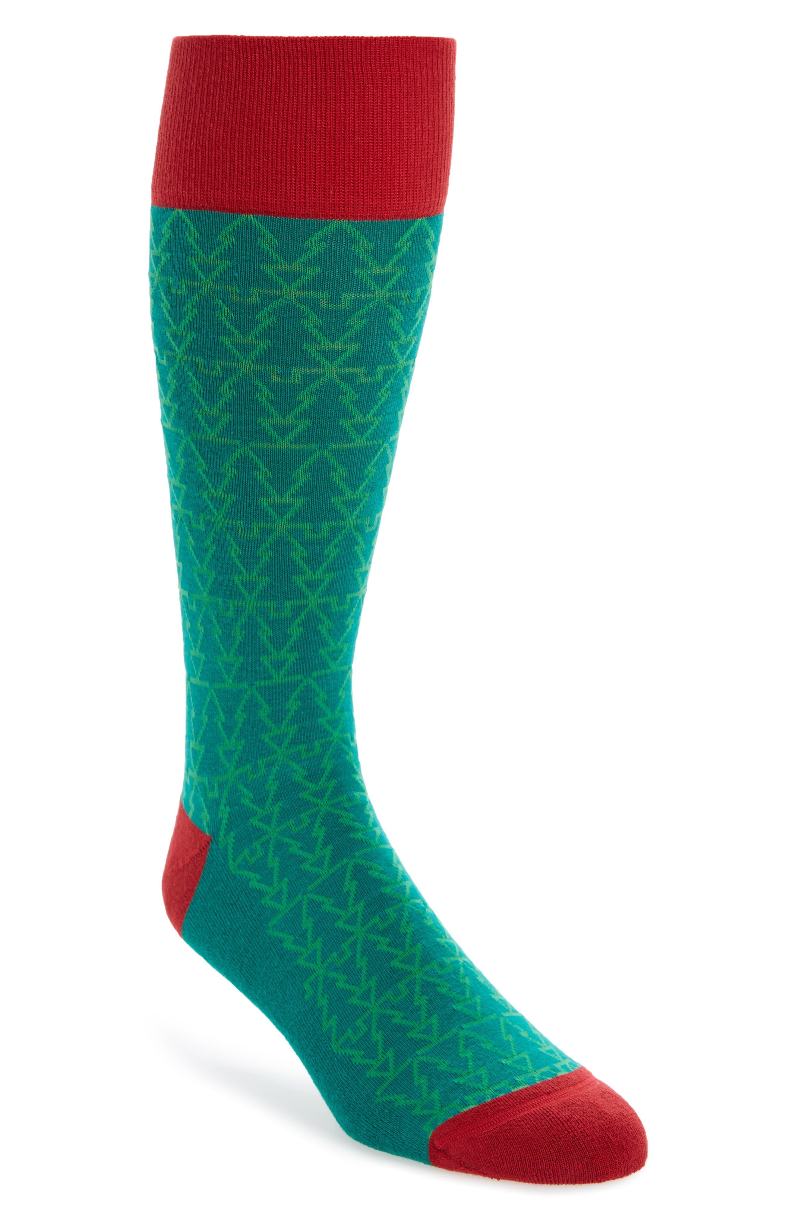 Holiday Mosaic Tree Socks,                         Main,                         color, Green Pepper
