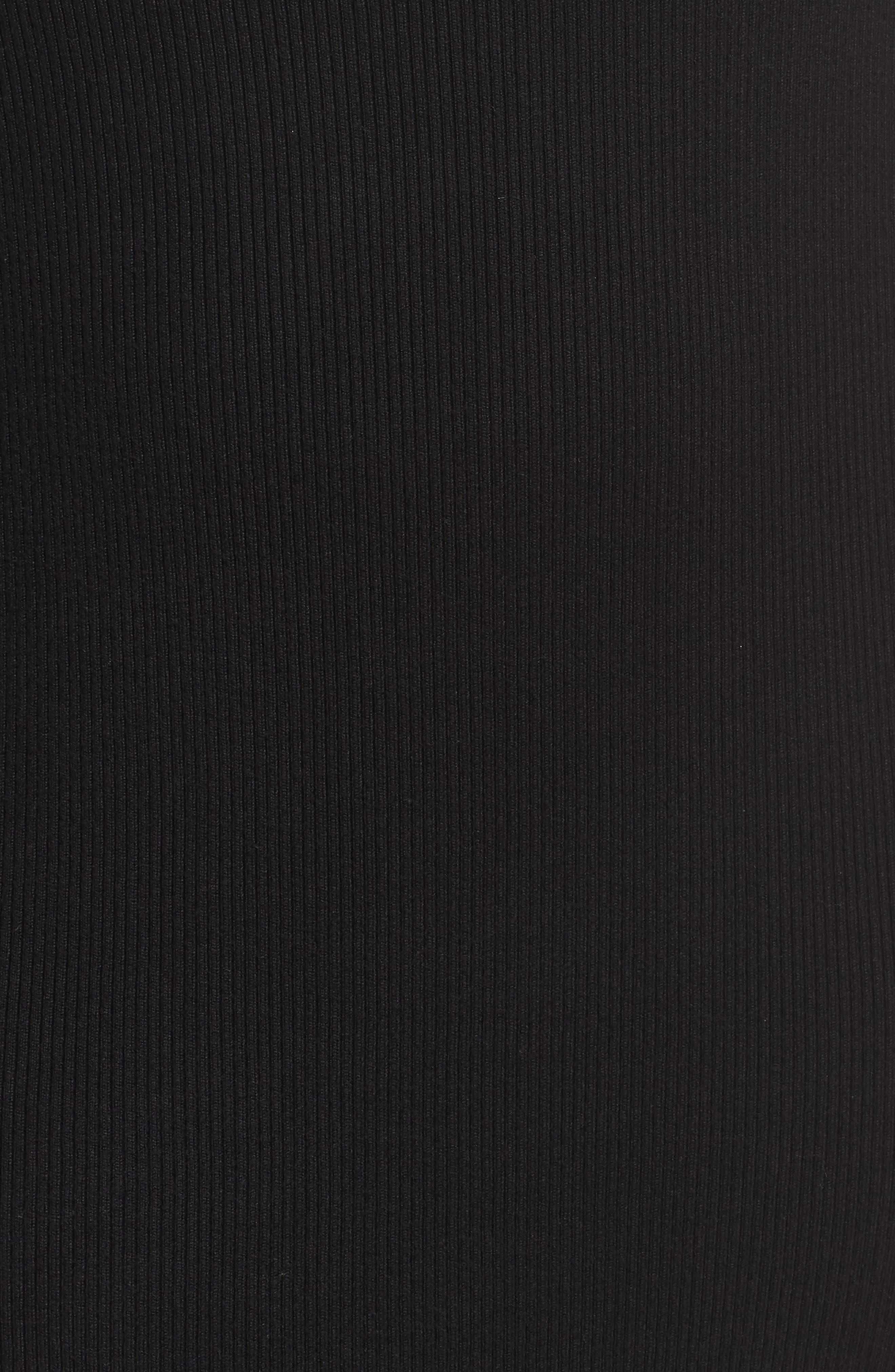 Glitter Colorblock Knit Body-Con Dress,                             Alternate thumbnail 5, color,                             Black