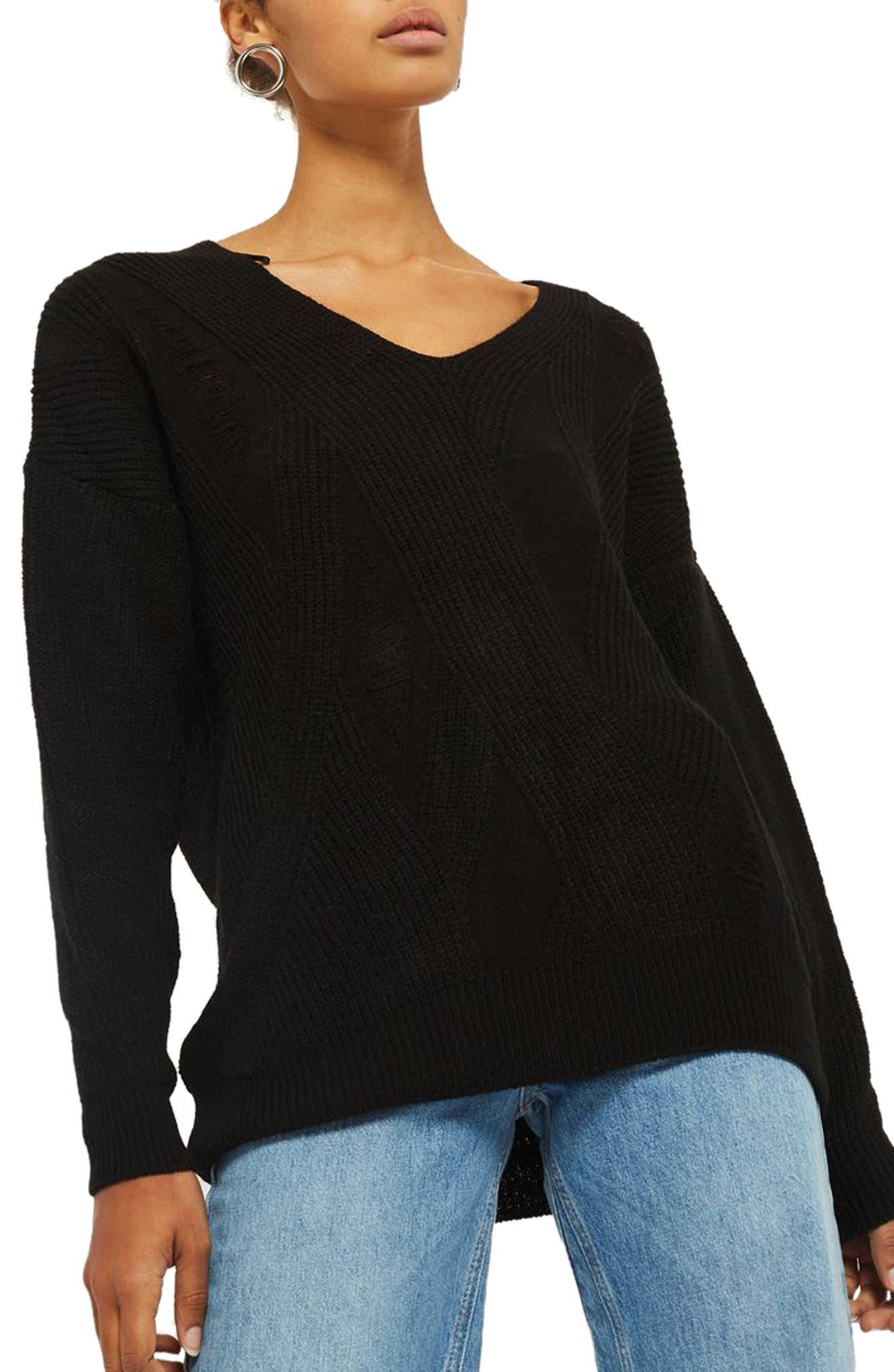 Ladder Stitch Sweater,                             Main thumbnail 1, color,                             Black