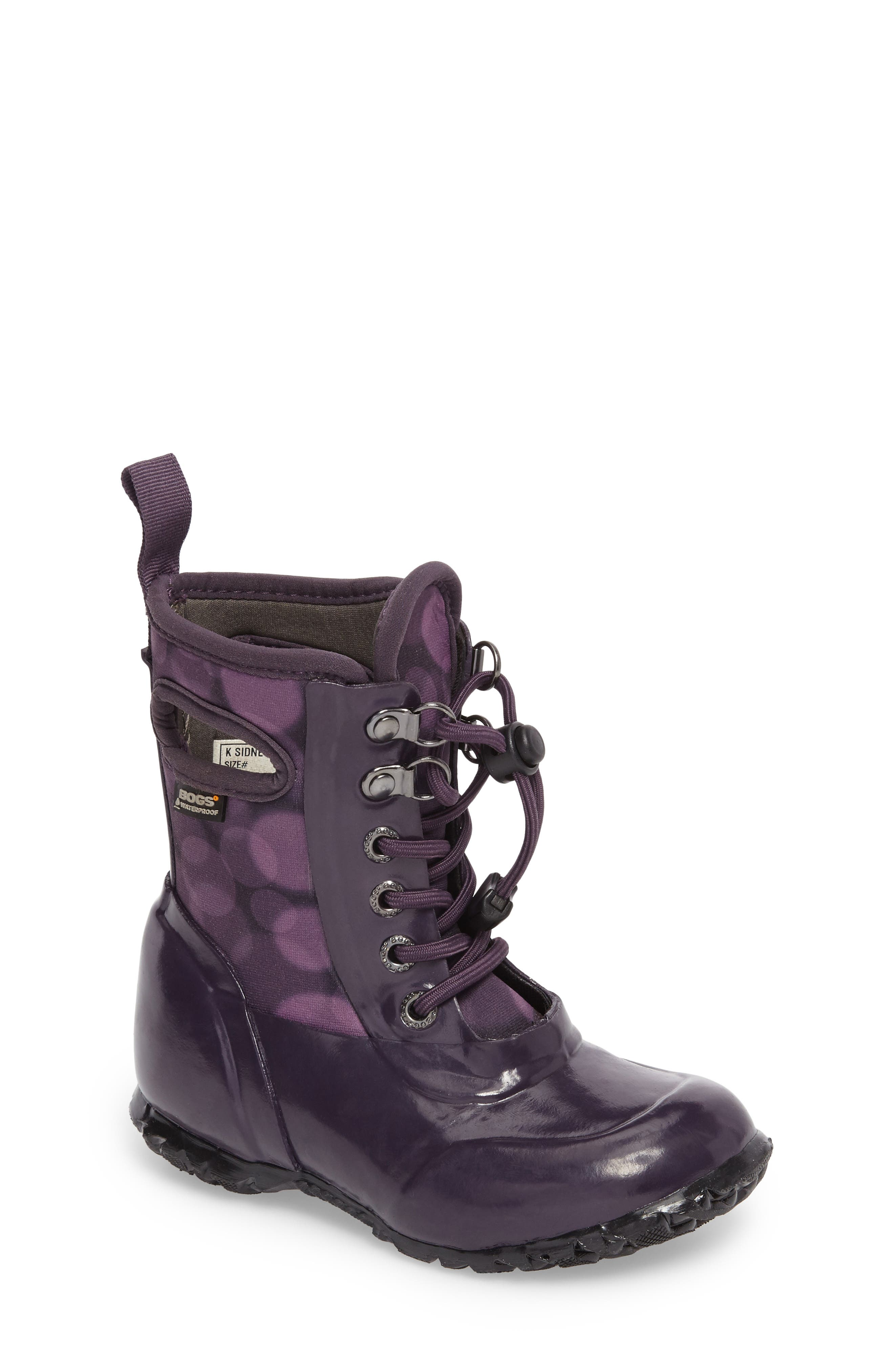 Sidney Waterproof Lace-Up Boot,                         Main,                         color, Eggplant Multi