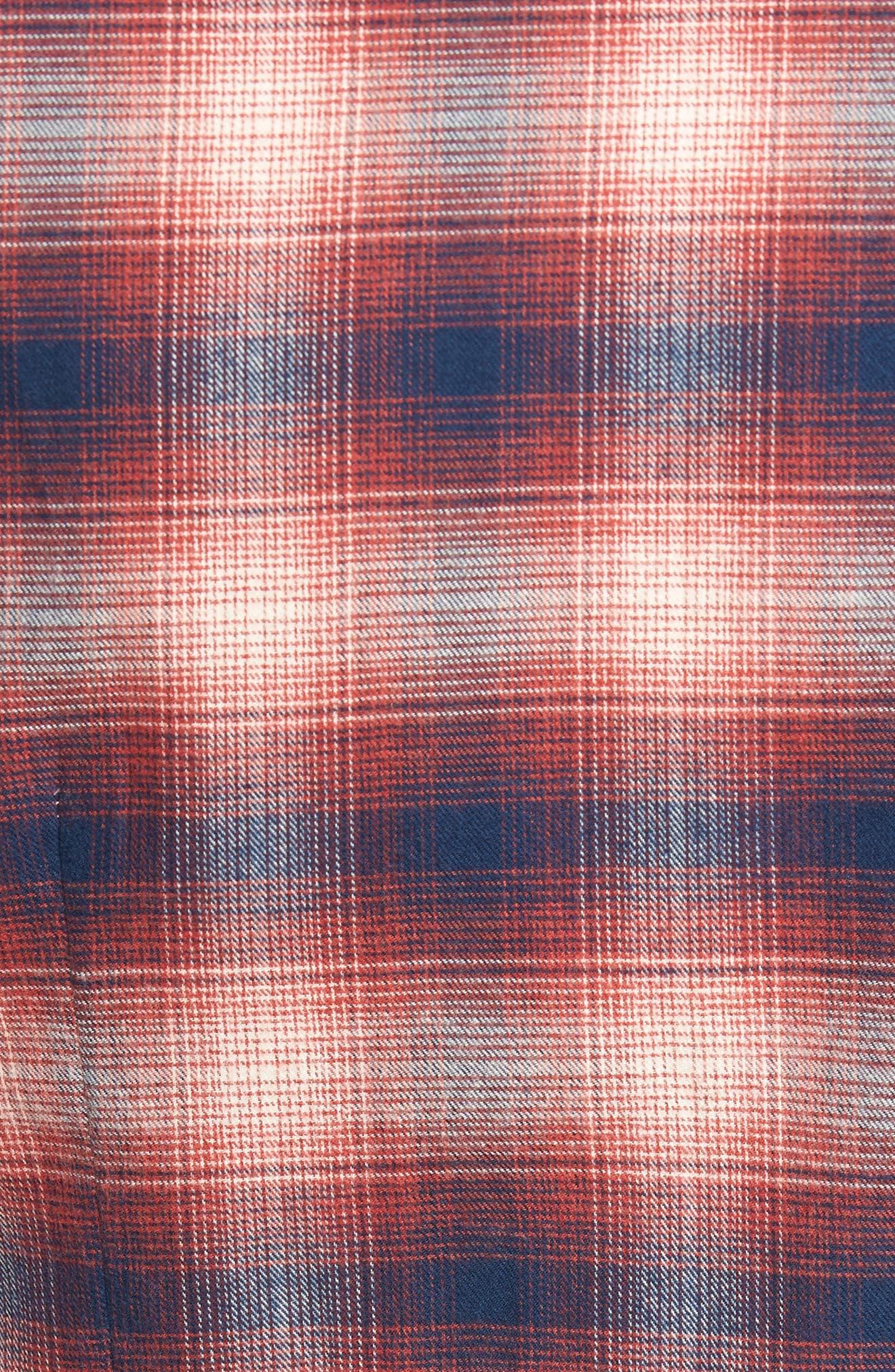 Ombré Plaid Flannel Sport Shirt,                             Alternate thumbnail 5, color,                             Red