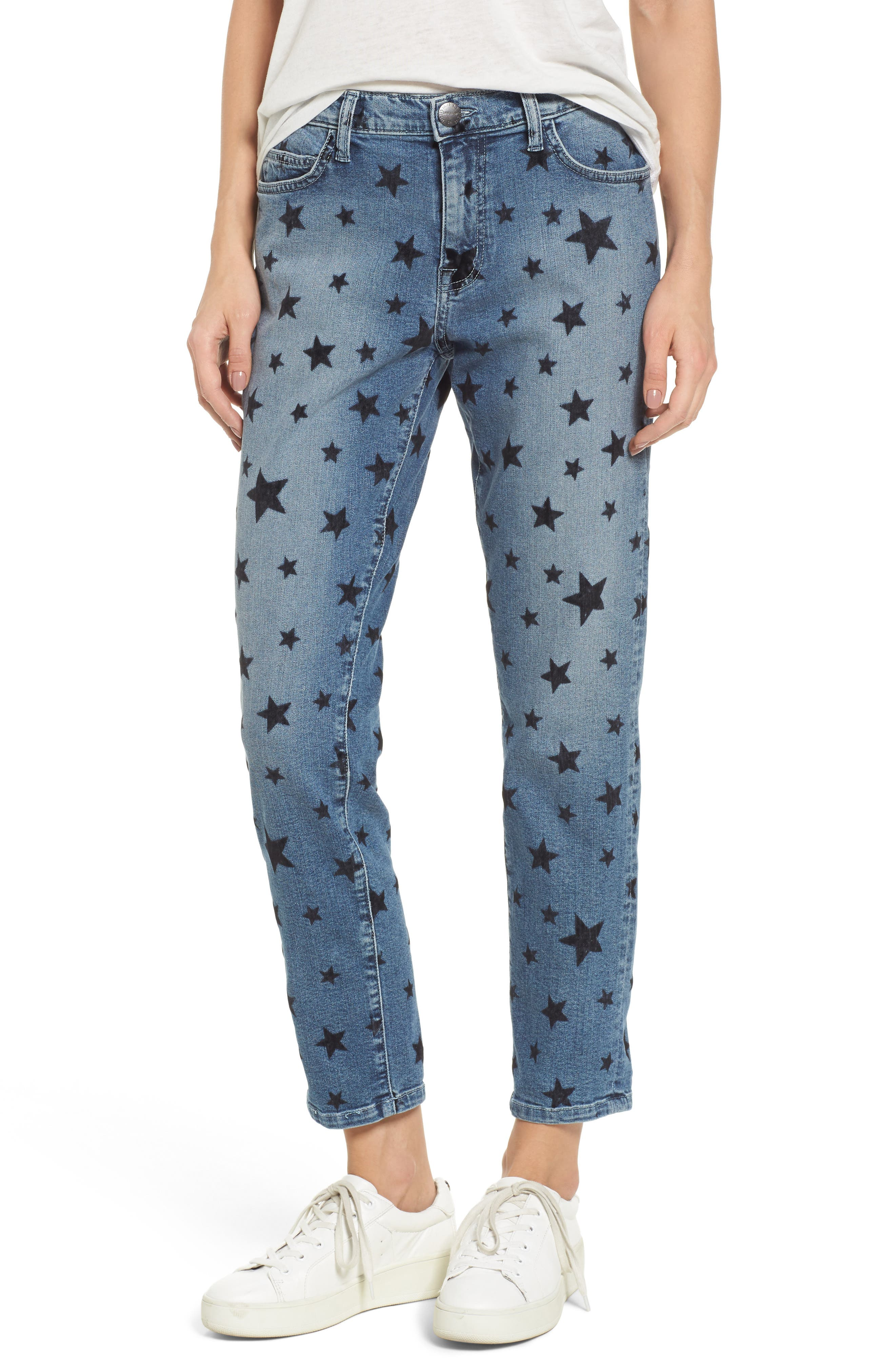 The Fling Boyfriend Jeans,                             Main thumbnail 1, color,                             Flocked Star