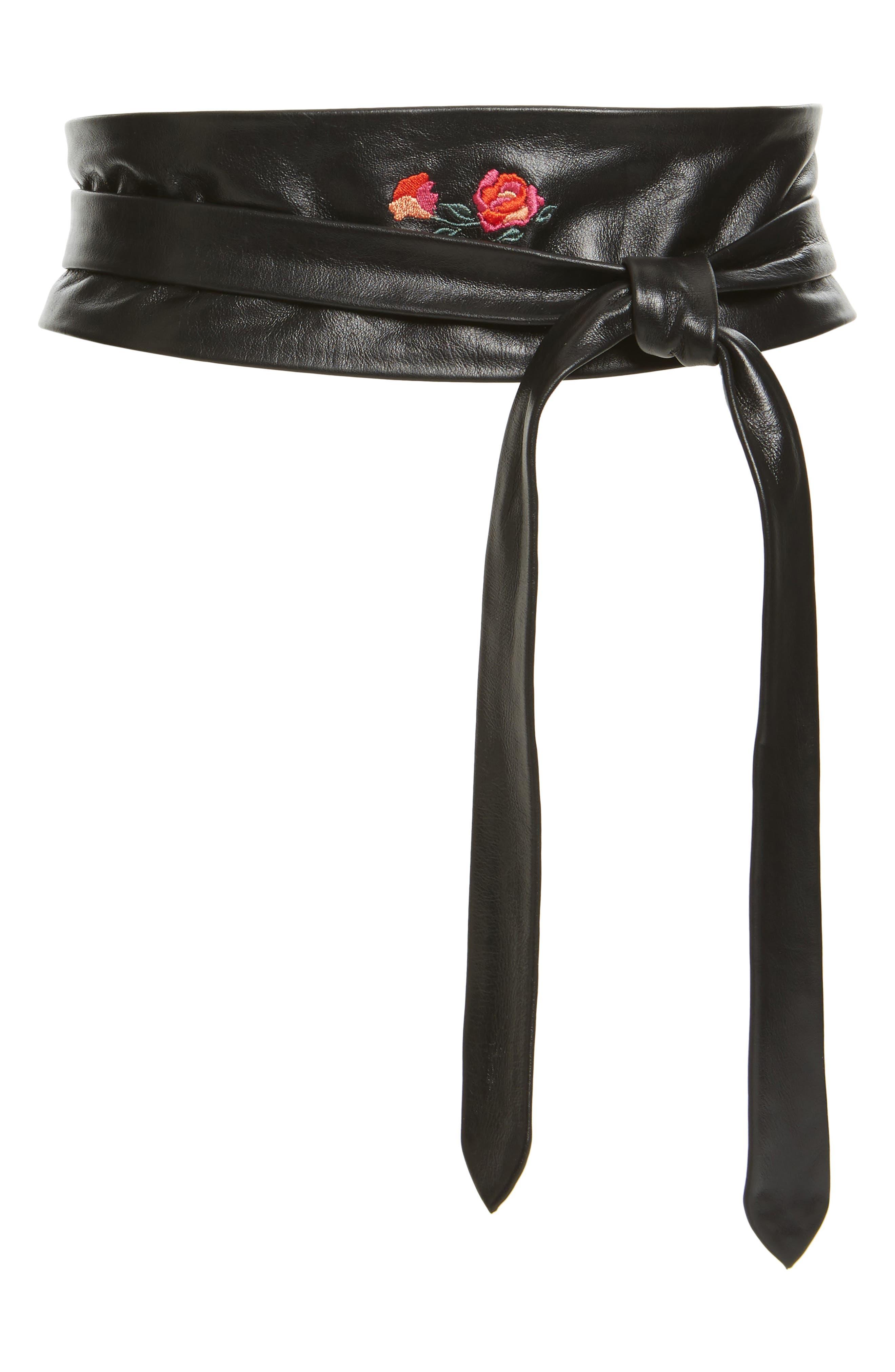 Embroidered Leather Wrap Belt,                         Main,                         color, Black