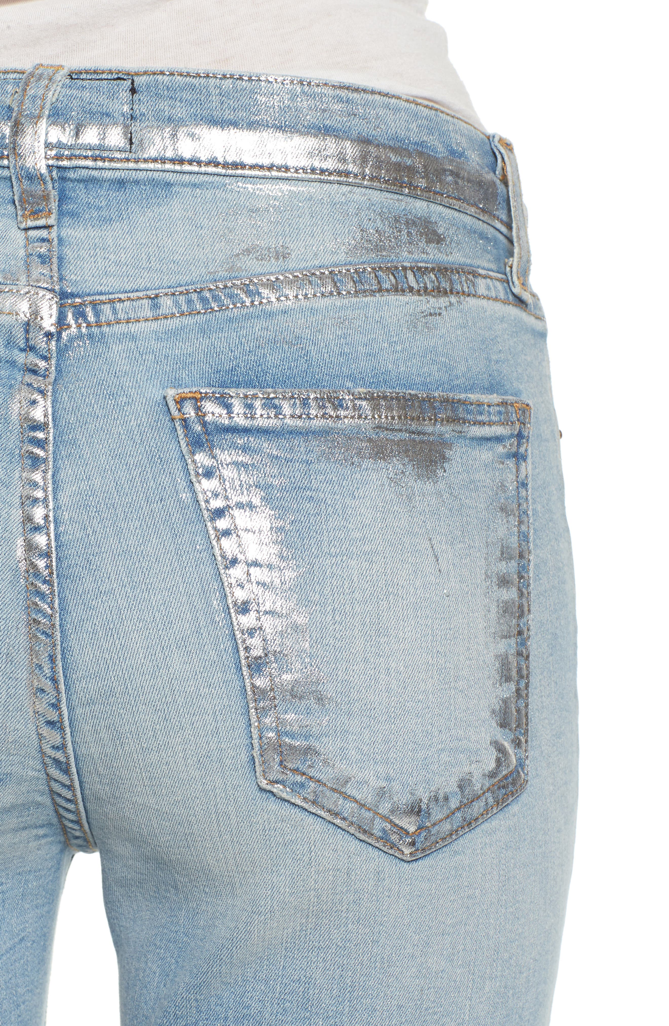 The Stiletto High Waist Skinny Jeans,                             Alternate thumbnail 4, color,                             Seville Destroy/ Foil