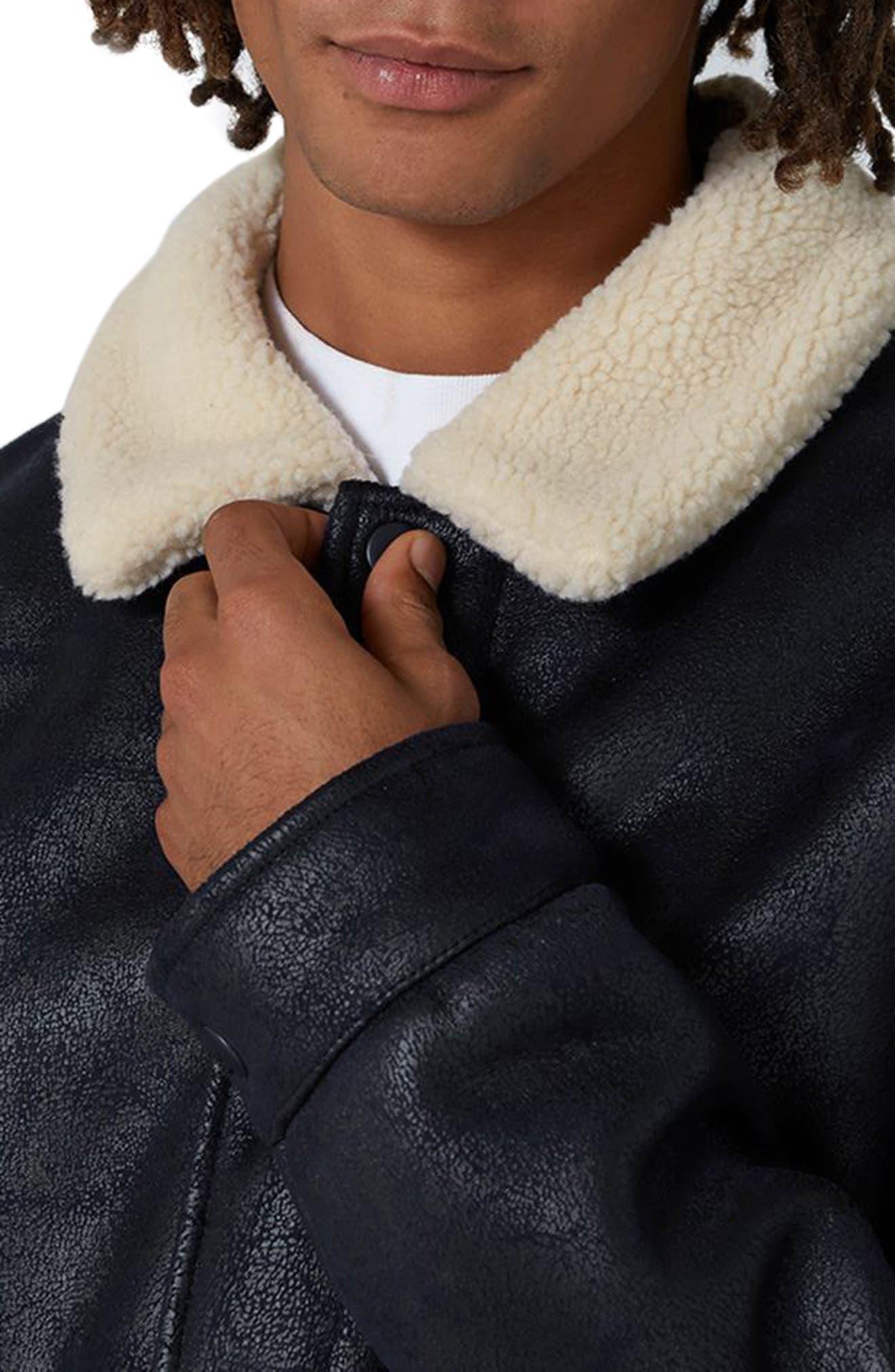 Faux Shearling Jacket,                             Alternate thumbnail 3, color,                             Dark Blue