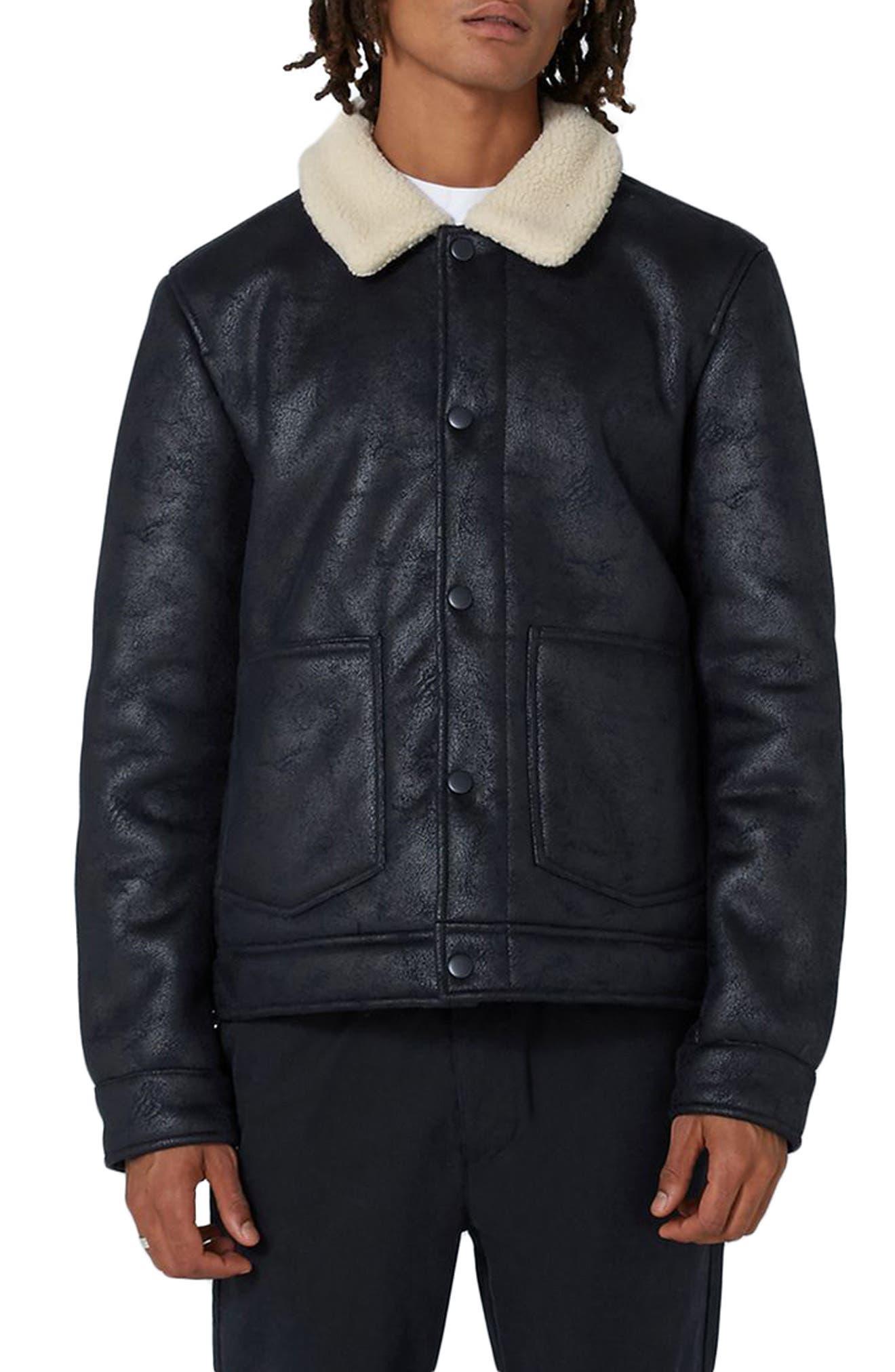 Faux Shearling Jacket,                         Main,                         color, Dark Blue