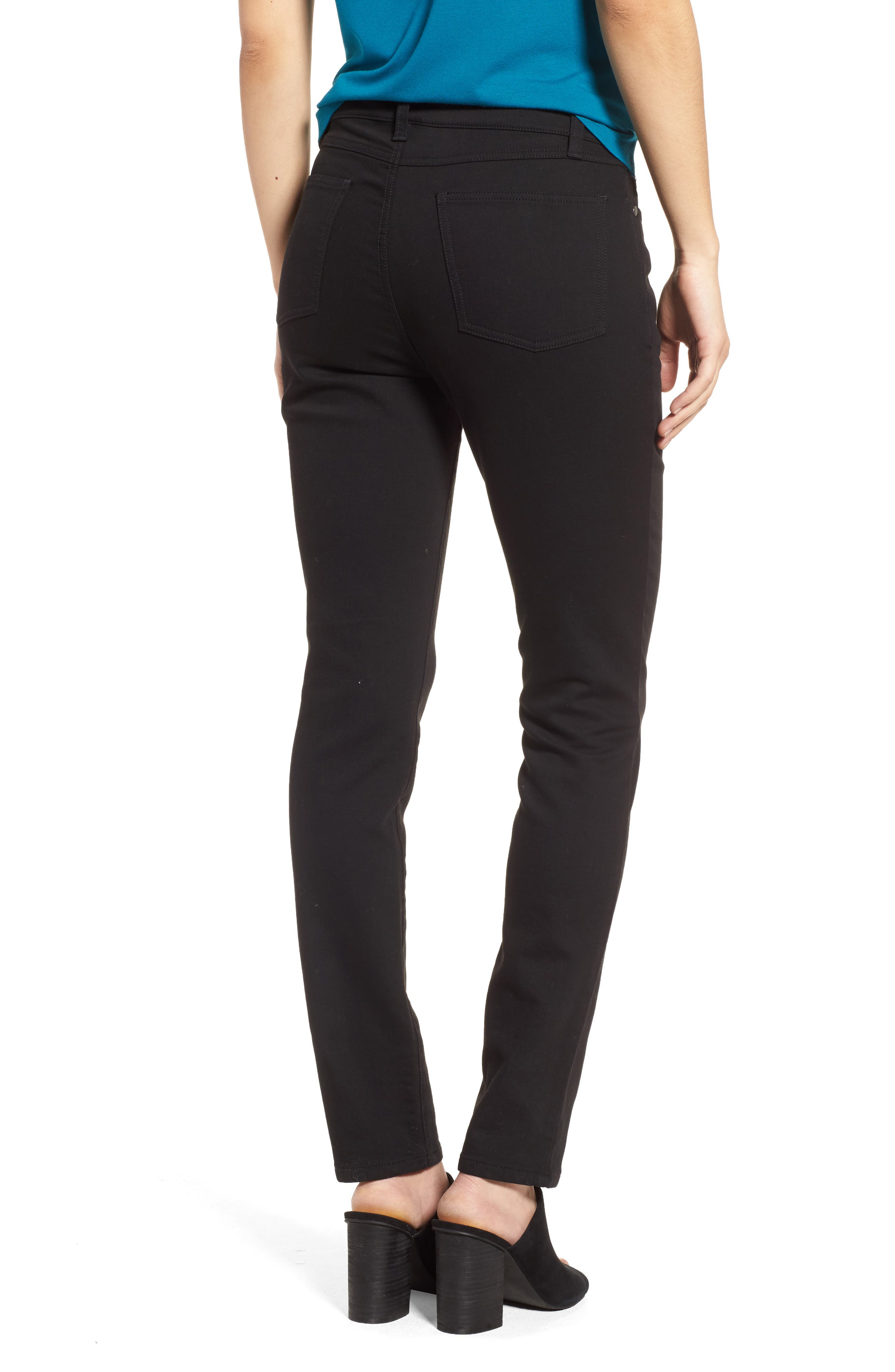 Stretch Organic Cotton Skinny Jeans,                             Alternate thumbnail 2, color,                             Black