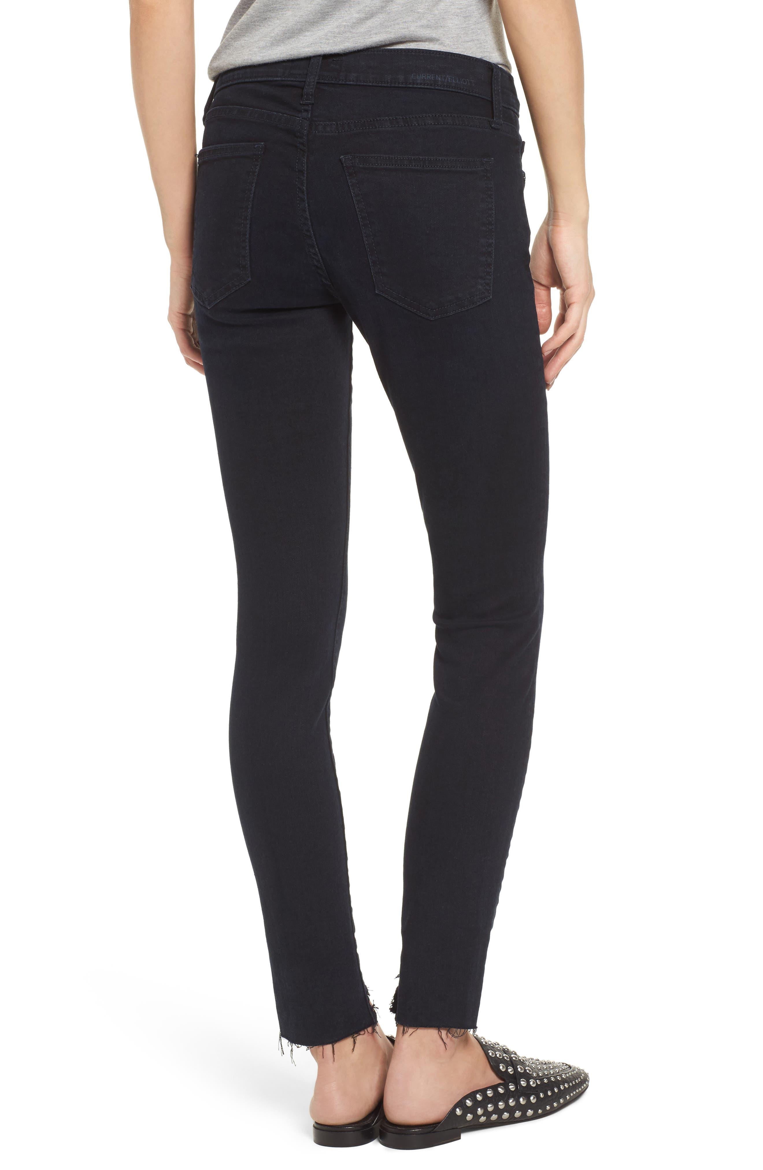 The High Waist Stiletto Ankle Skinny Jeans,                             Alternate thumbnail 2, color,                             Blueridge W/ Uneven Cut Hem