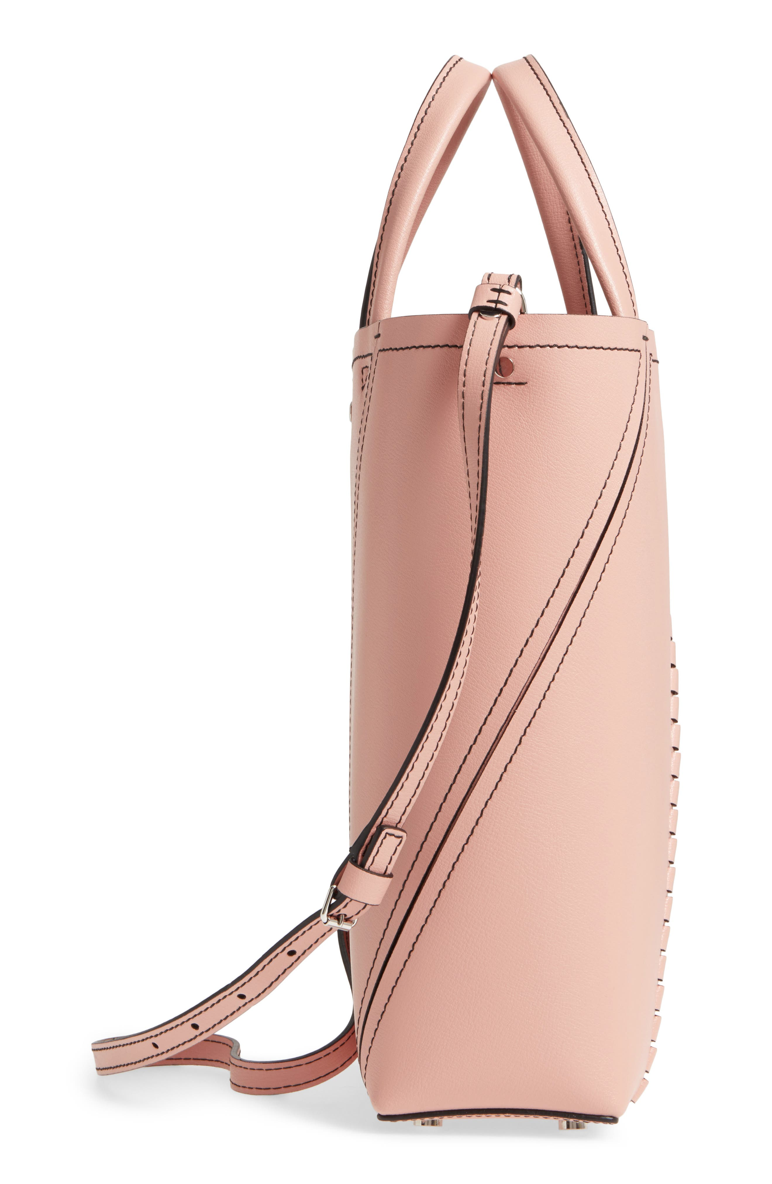 Mini Hex Whipstitch Calfskin Leather Tote,                             Alternate thumbnail 5, color,                             Deep Blush