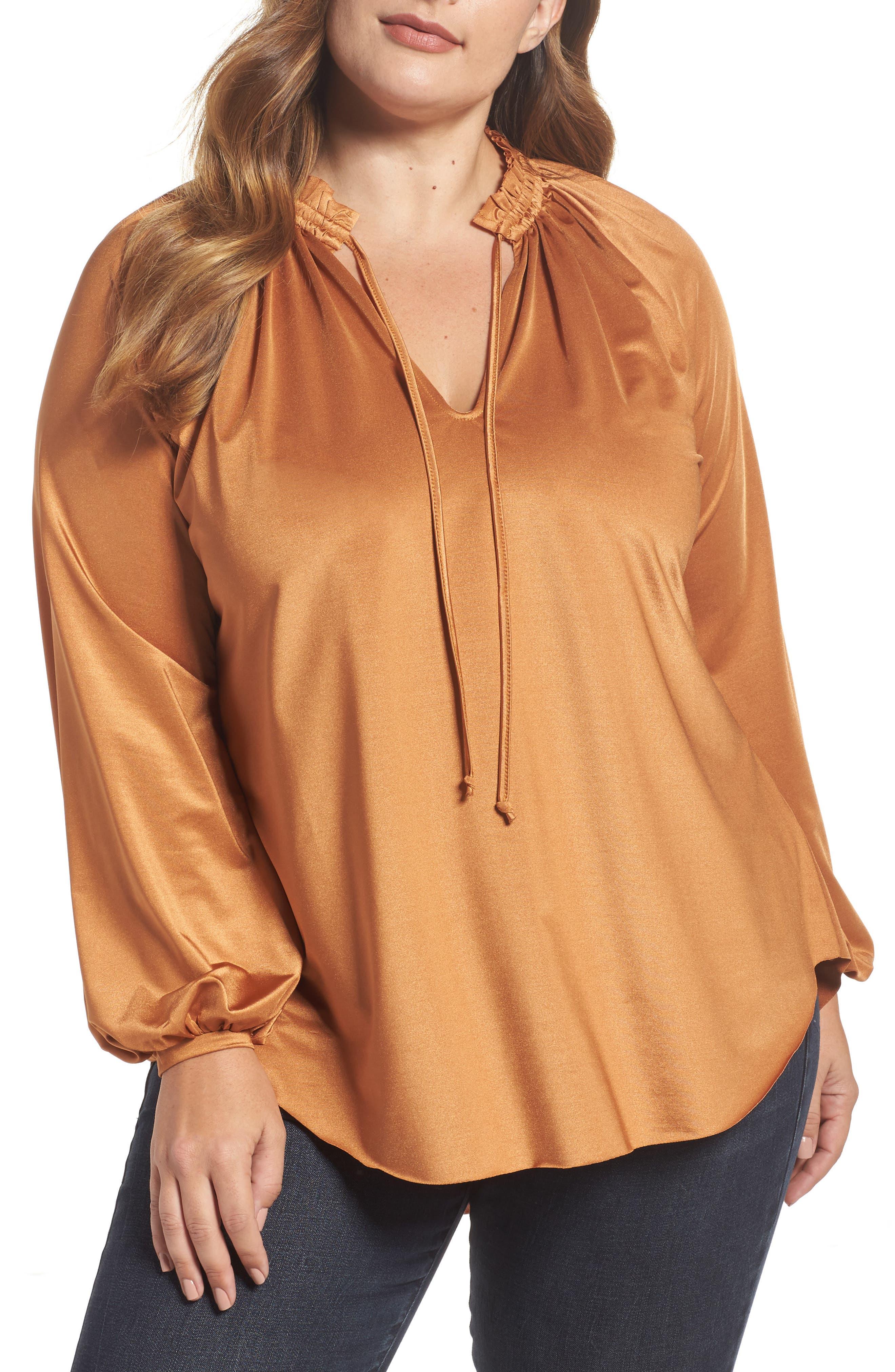 Main Image - Melissa McCarthy Tie Neck Top (Plus Size)